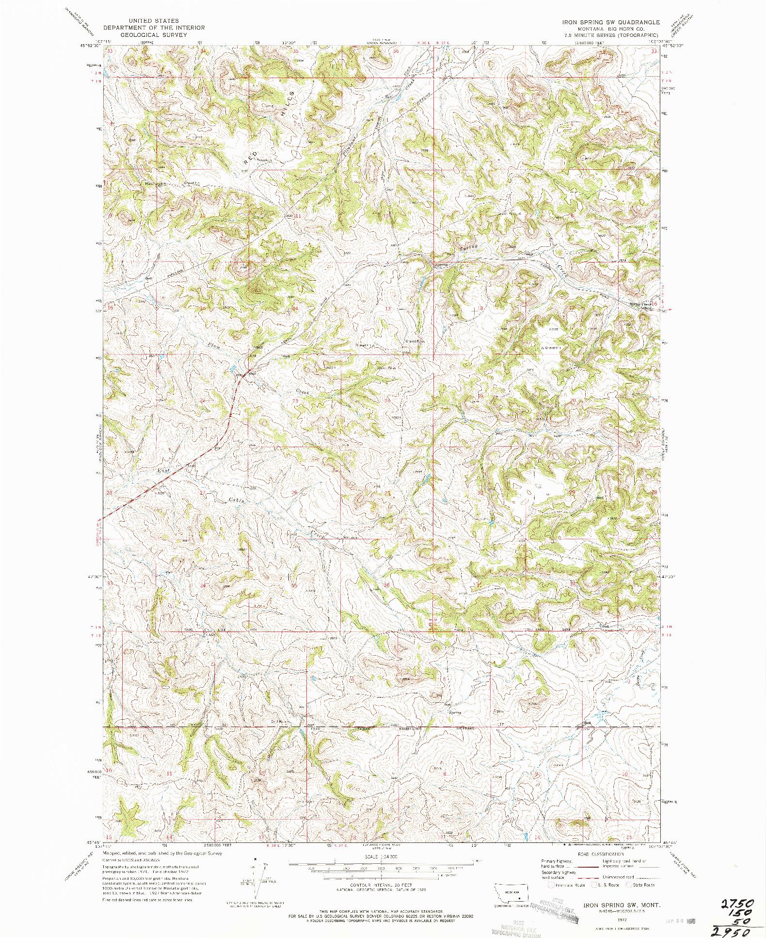 USGS 1:24000-SCALE QUADRANGLE FOR IRON SPRING SW, MT 1972