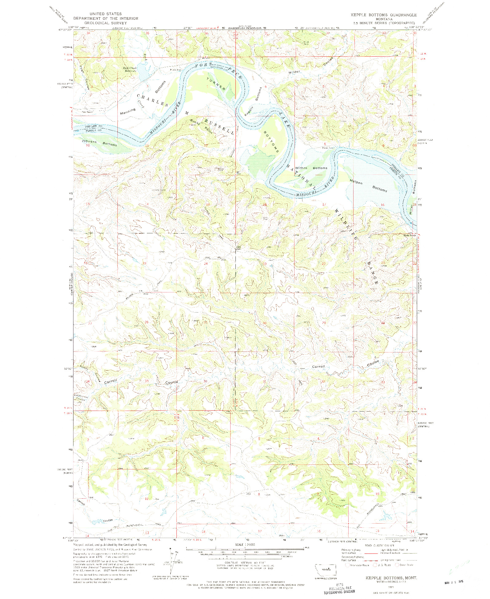 USGS 1:24000-SCALE QUADRANGLE FOR KEPPLE BOTTOMS, MT 1971