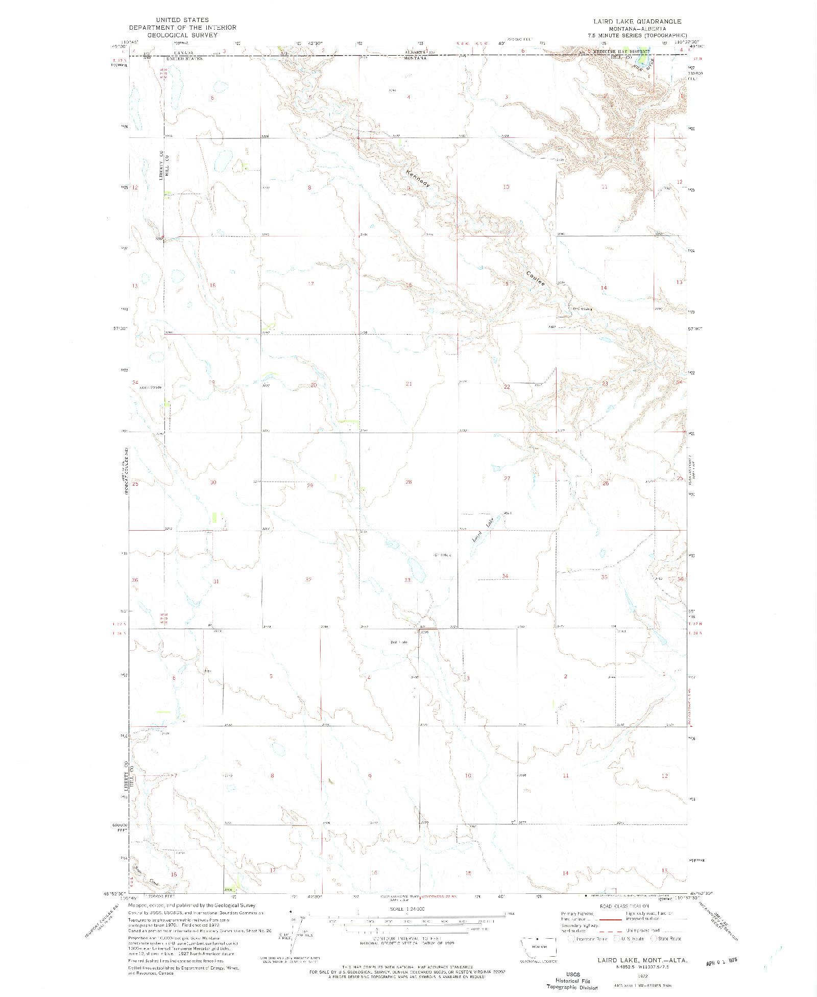 USGS 1:24000-SCALE QUADRANGLE FOR LAIRD LAKE, MT 1972
