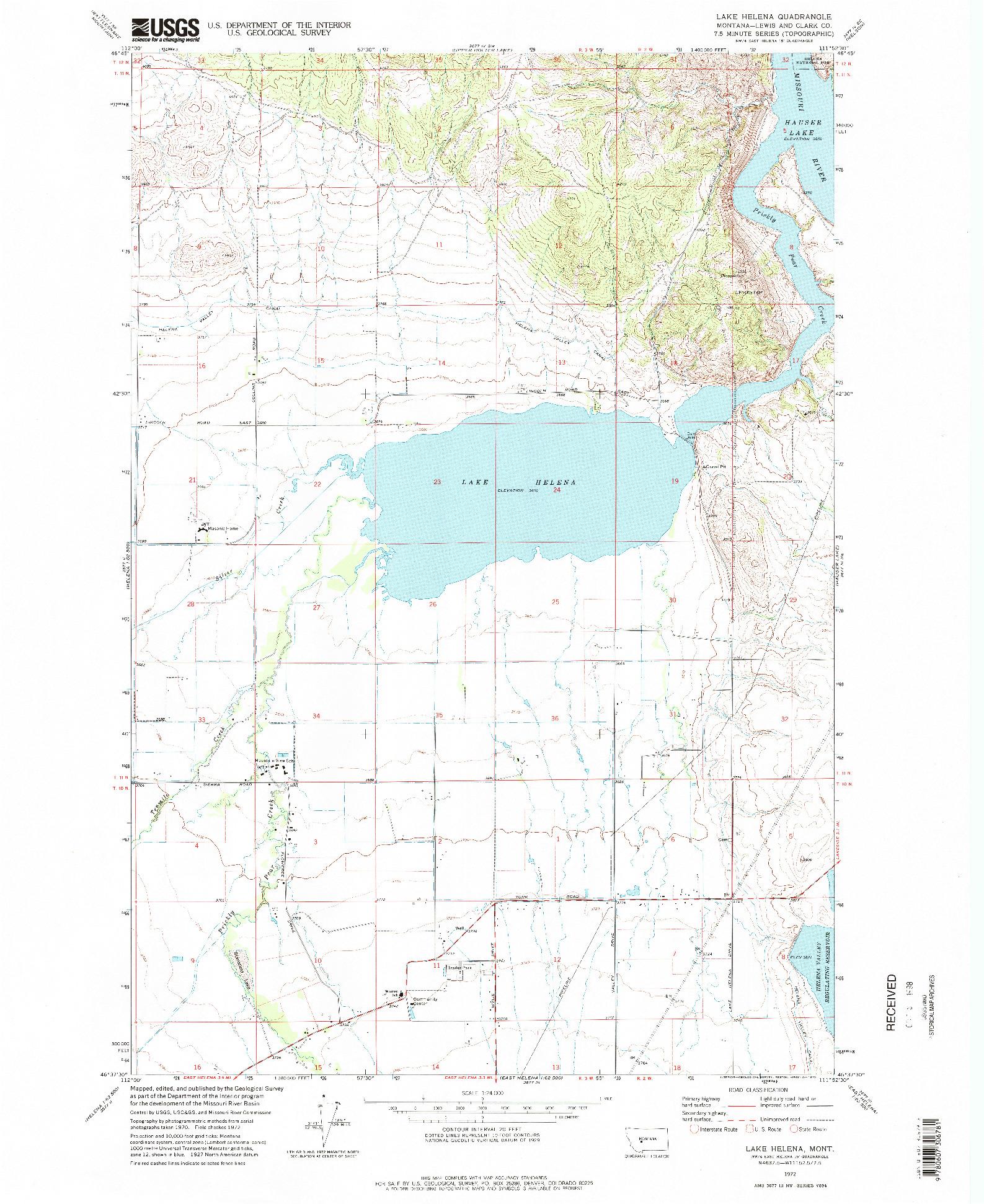 USGS 1:24000-SCALE QUADRANGLE FOR LAKE HELENA, MT 1972
