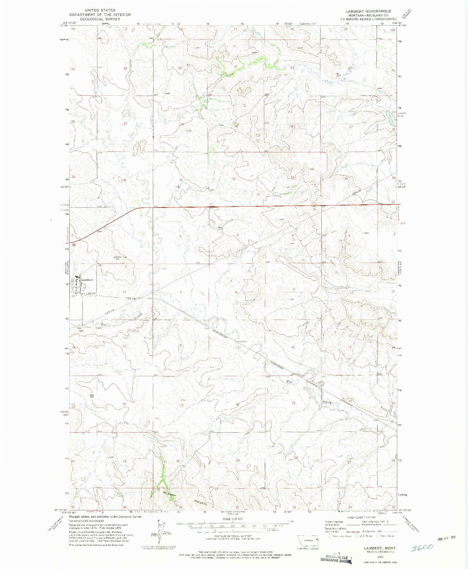 USGS 1:24000-SCALE QUADRANGLE FOR LAMBERT, MT 1972