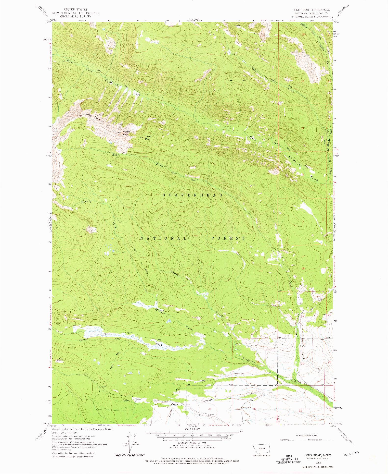 USGS 1:24000-SCALE QUADRANGLE FOR LONG PEAK, MT 1962