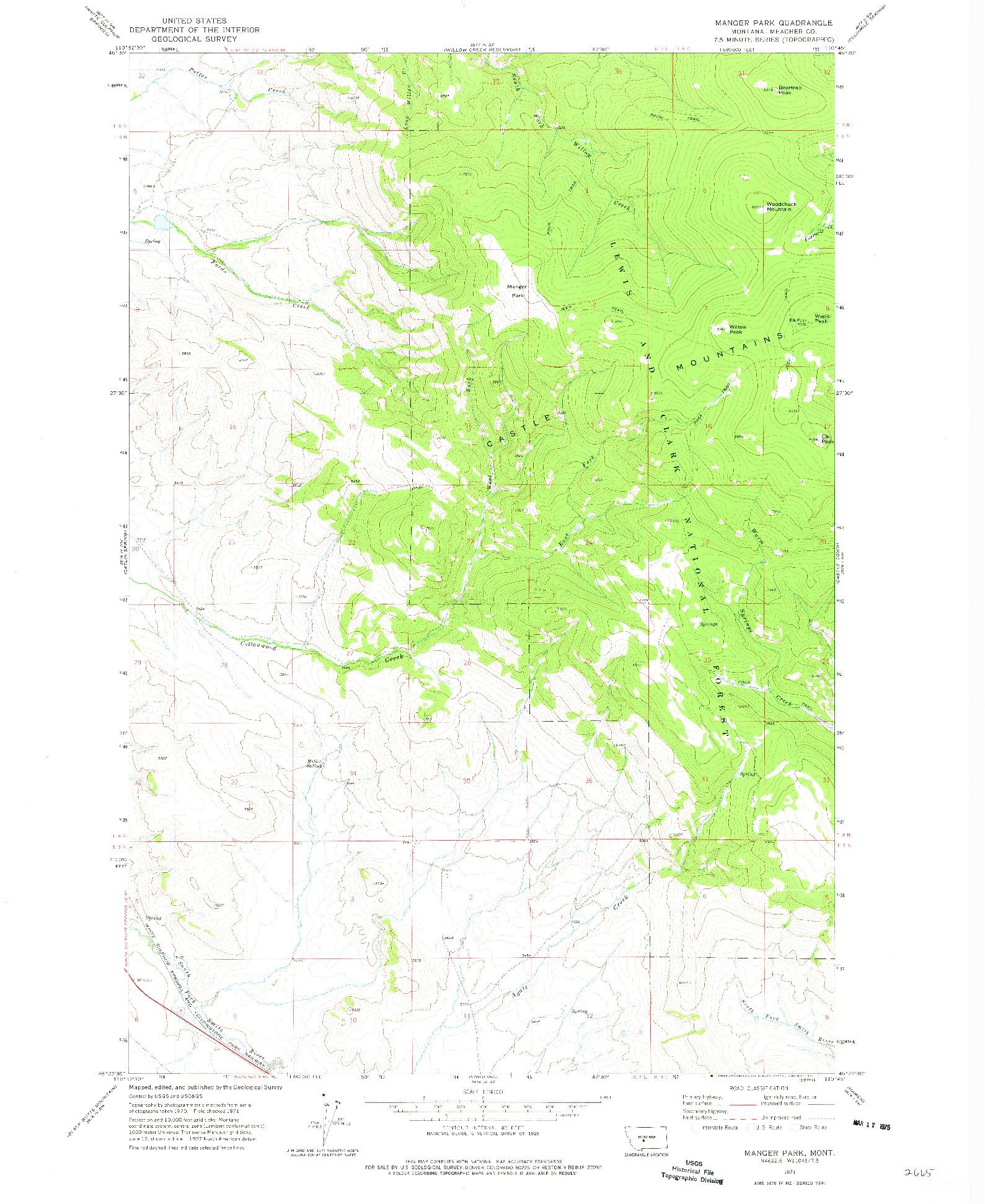 USGS 1:24000-SCALE QUADRANGLE FOR MANGER PARK, MT 1971
