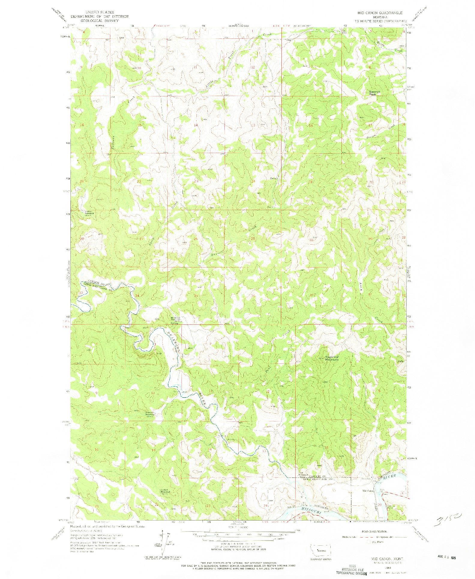 USGS 1:24000-SCALE QUADRANGLE FOR MID CANON, MT 1961