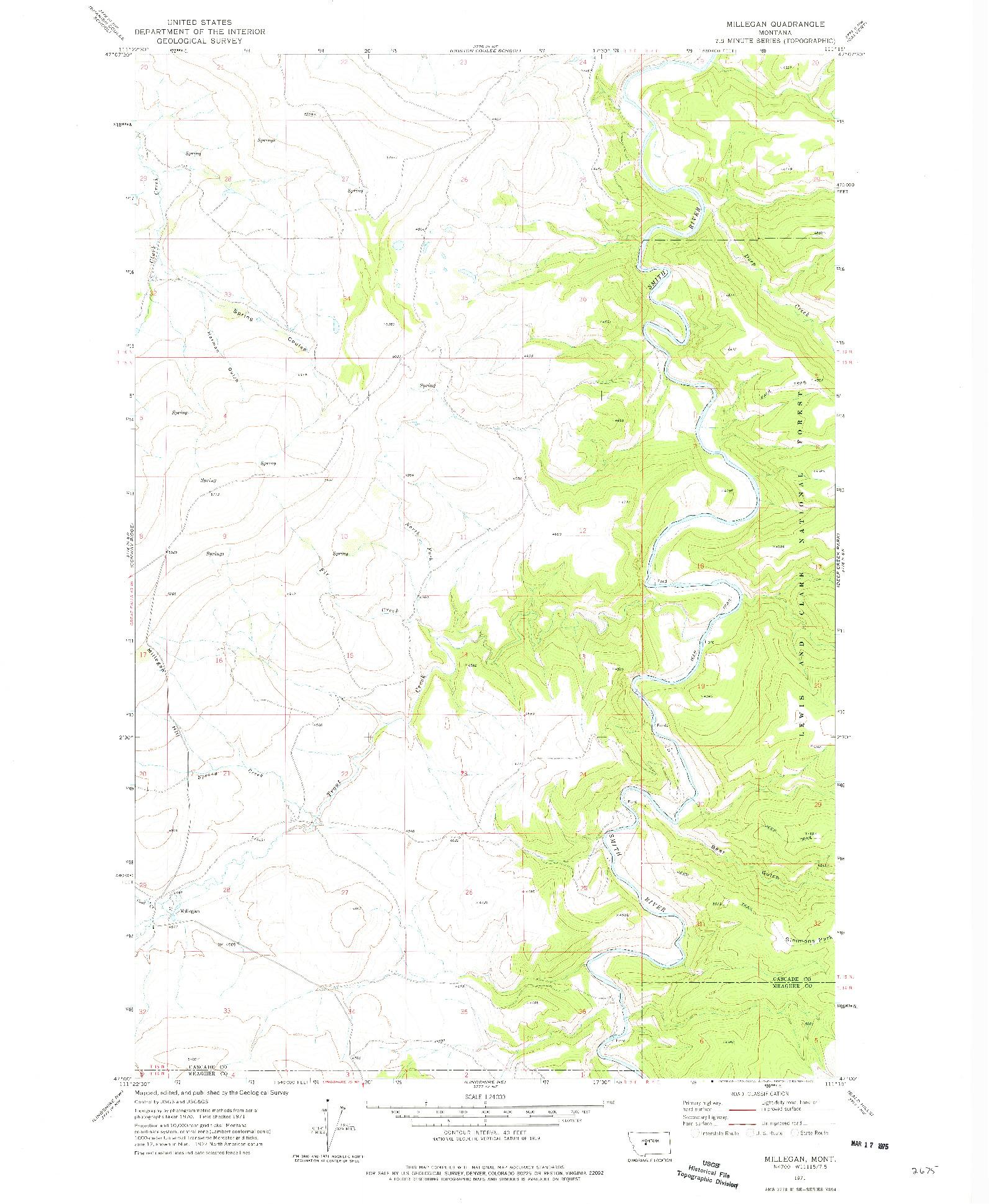 USGS 1:24000-SCALE QUADRANGLE FOR MILLEGAN, MT 1971