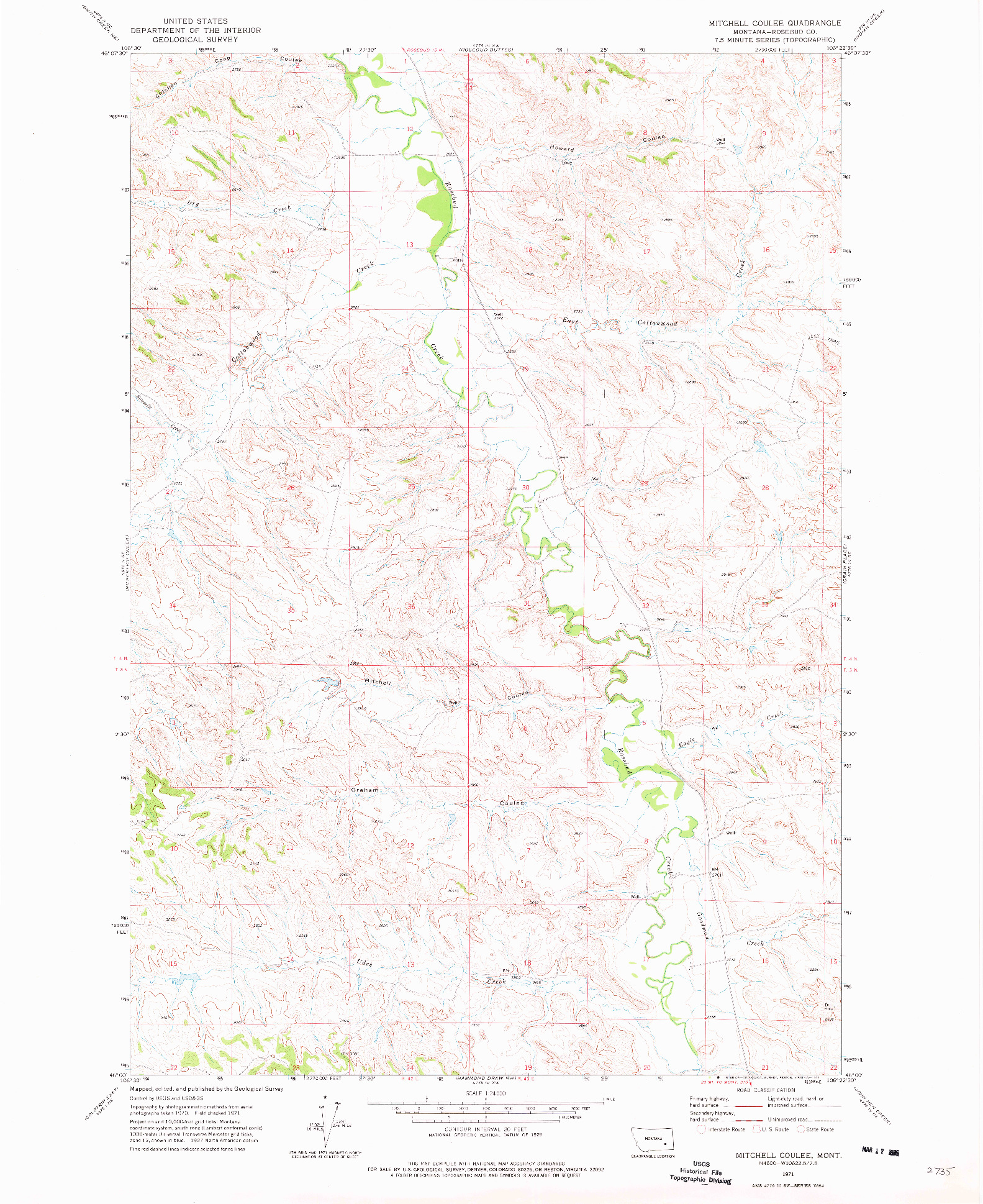 USGS 1:24000-SCALE QUADRANGLE FOR MITCHELL COULEE, MT 1971