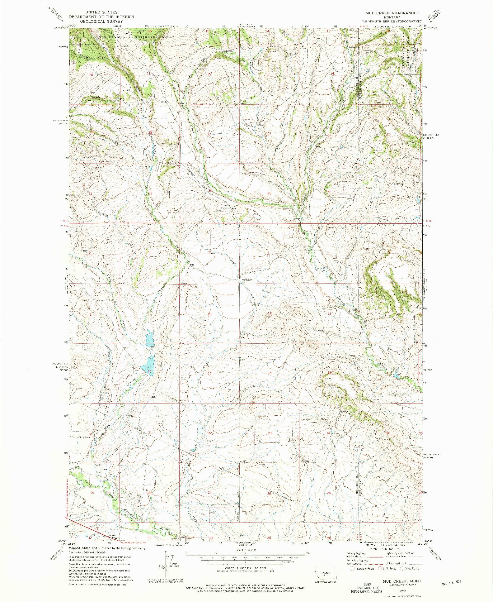USGS 1:24000-SCALE QUADRANGLE FOR MUD CREEK, MT 1972