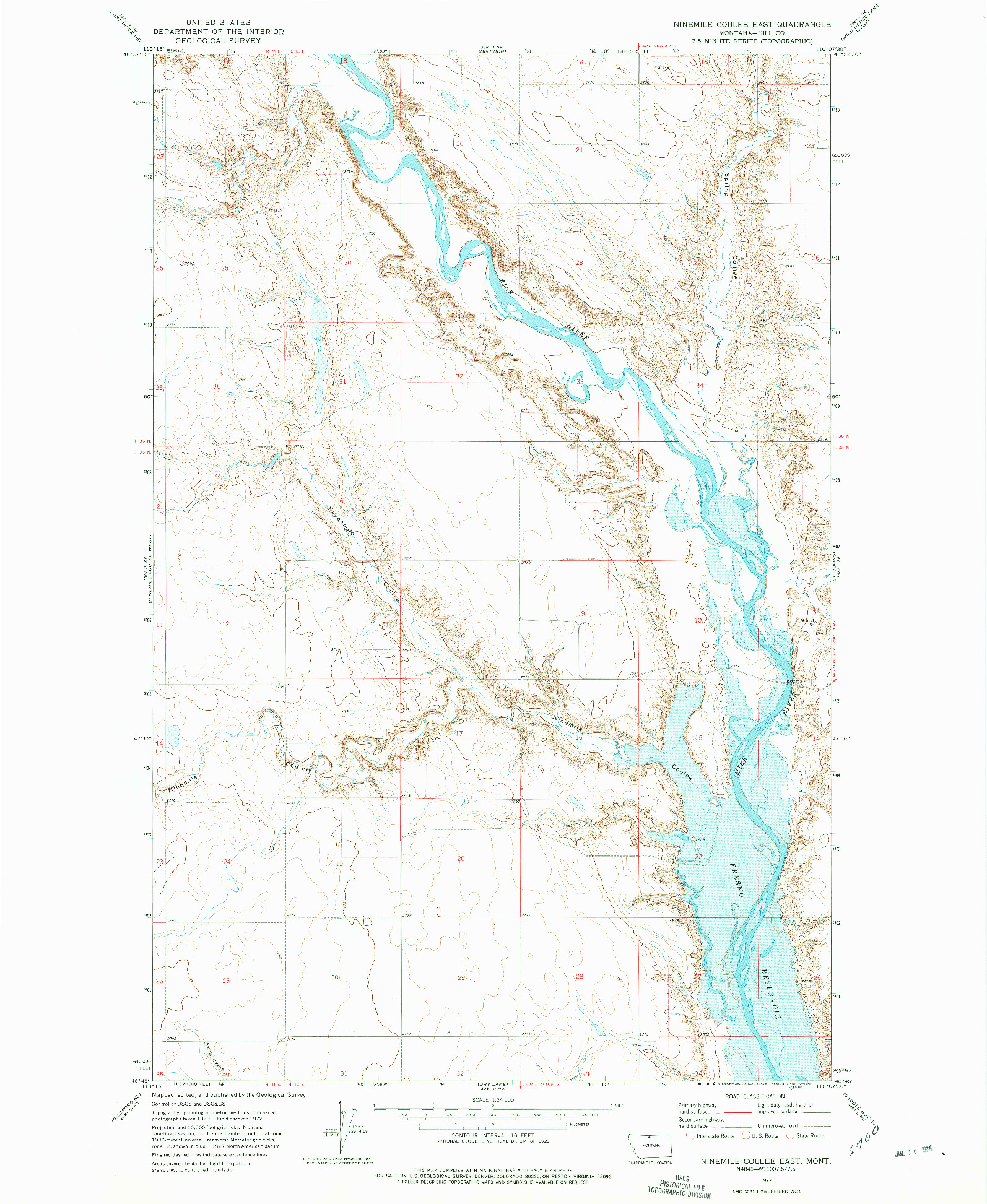 USGS 1:24000-SCALE QUADRANGLE FOR NINEMILE COULEE EAST, MT 1972