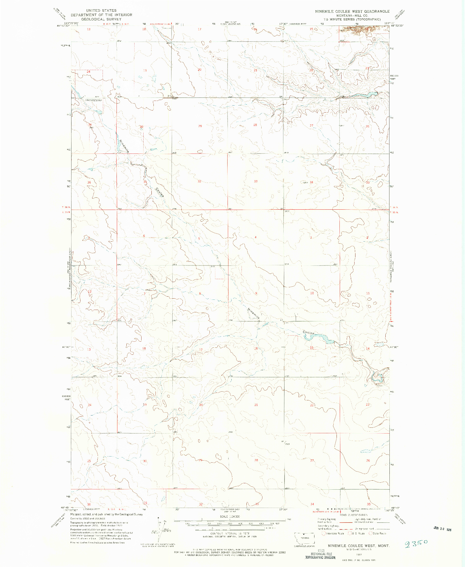 USGS 1:24000-SCALE QUADRANGLE FOR NINEMILE COULEE WEST, MT 1972