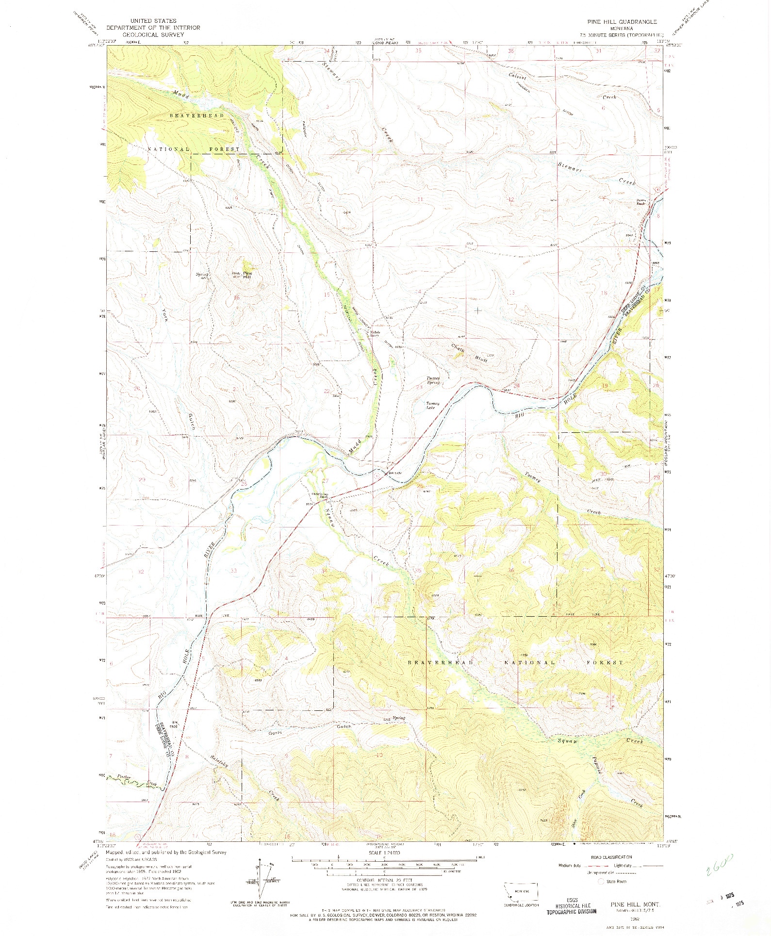 USGS 1:24000-SCALE QUADRANGLE FOR PINE HILL, MT 1962