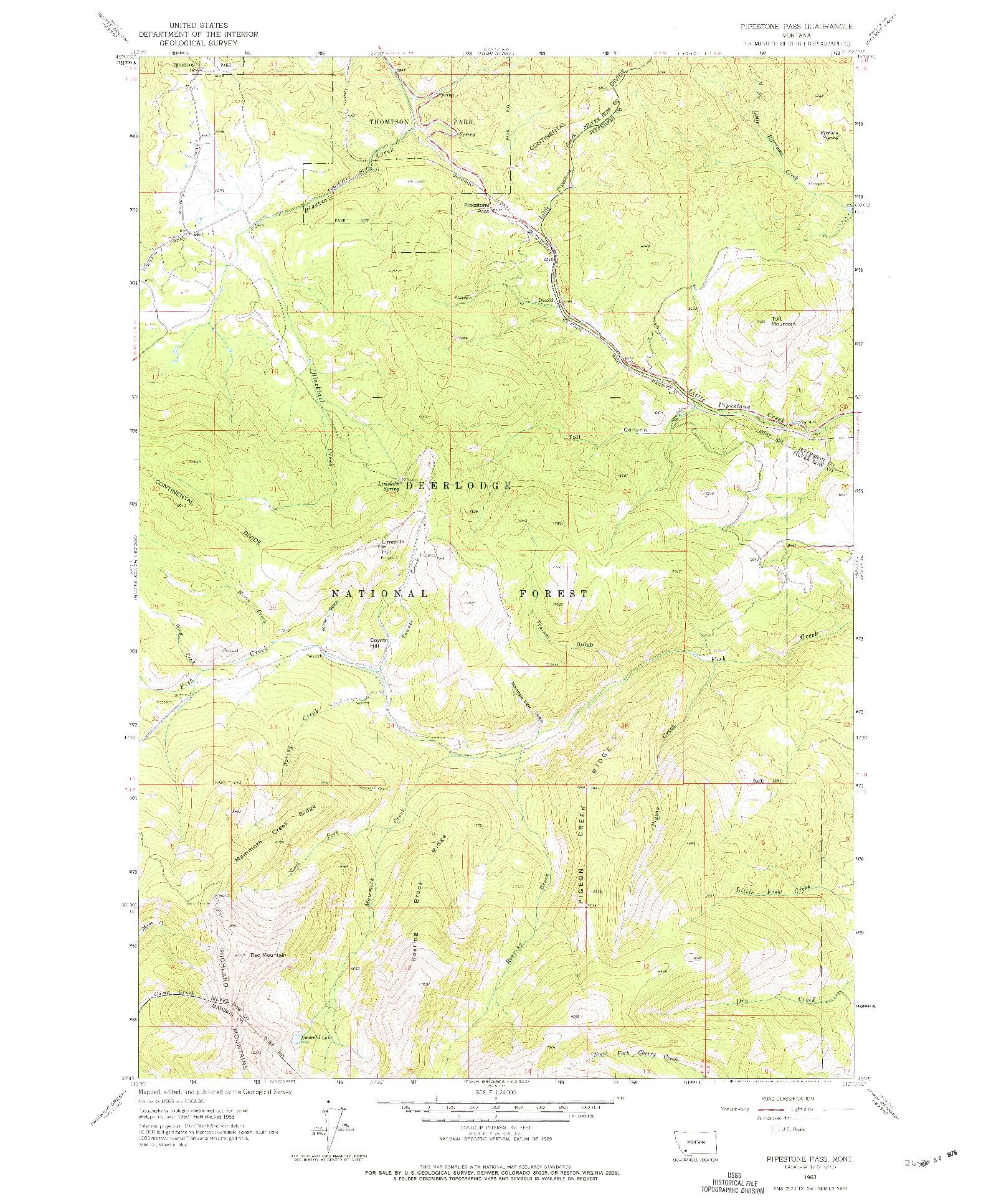 USGS 1:24000-SCALE QUADRANGLE FOR PIPESTONE PASS, MT 1963