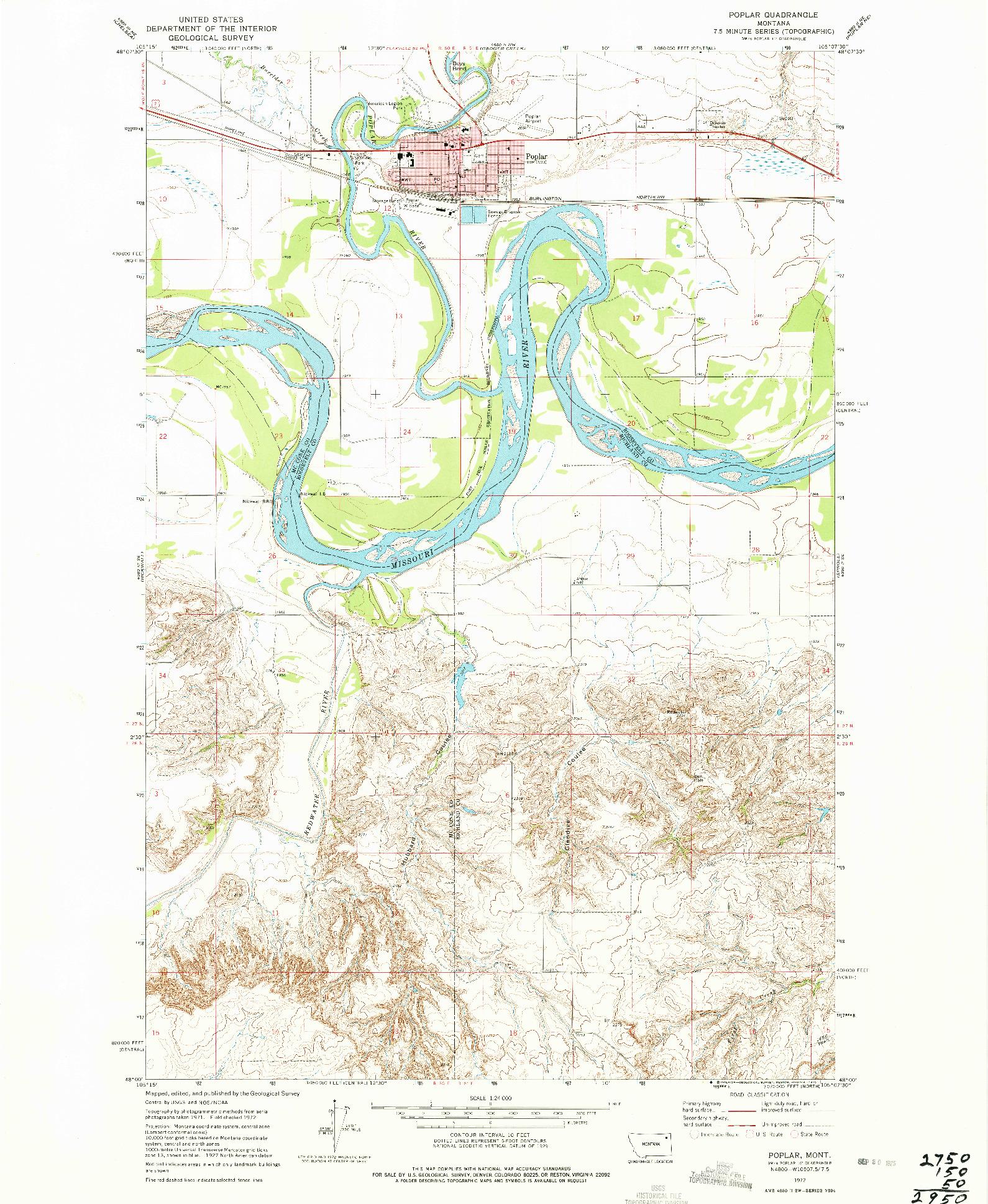 USGS 1:24000-SCALE QUADRANGLE FOR POPLAR, MT 1972