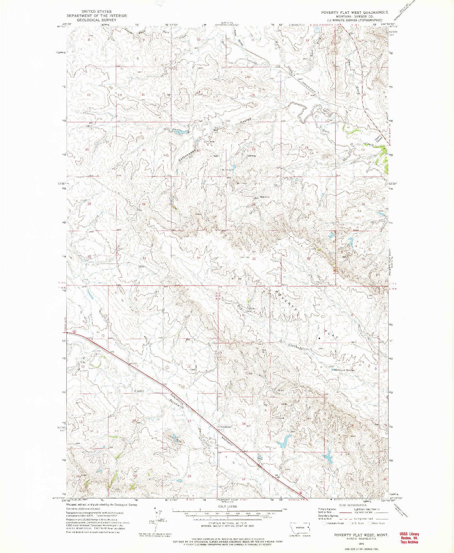 USGS 1:24000-SCALE QUADRANGLE FOR POVERTY FLAT WEST, MT 1972