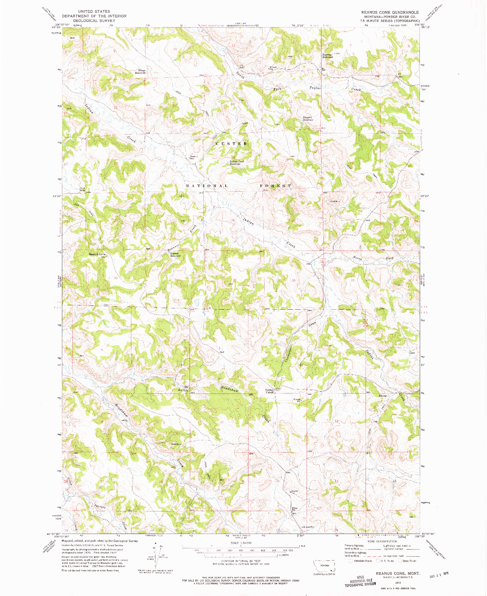USGS 1:24000-SCALE QUADRANGLE FOR REANUS CONE, MT 1972
