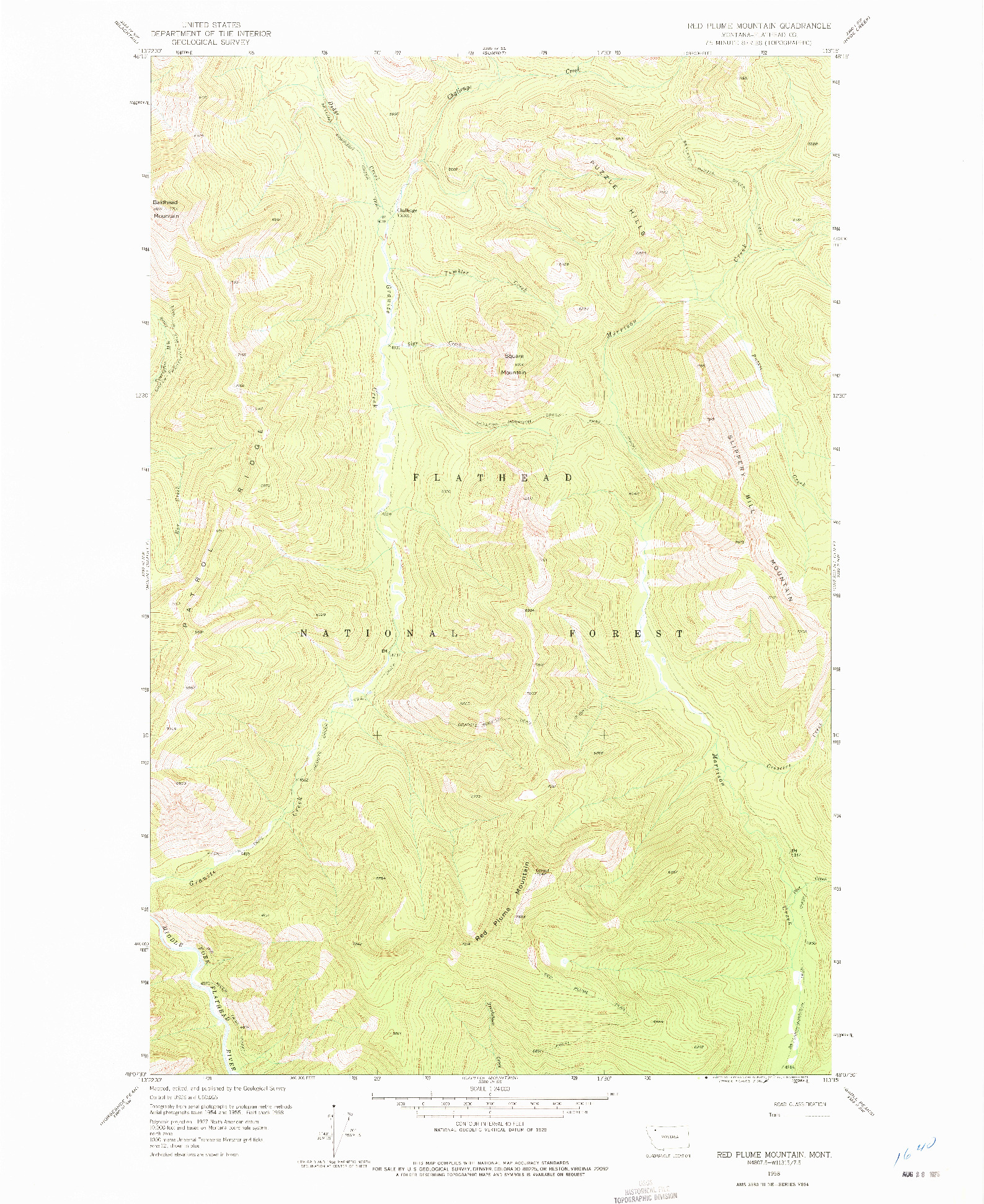 USGS 1:24000-SCALE QUADRANGLE FOR RED PLUME MOUNTAIN, MT 1958