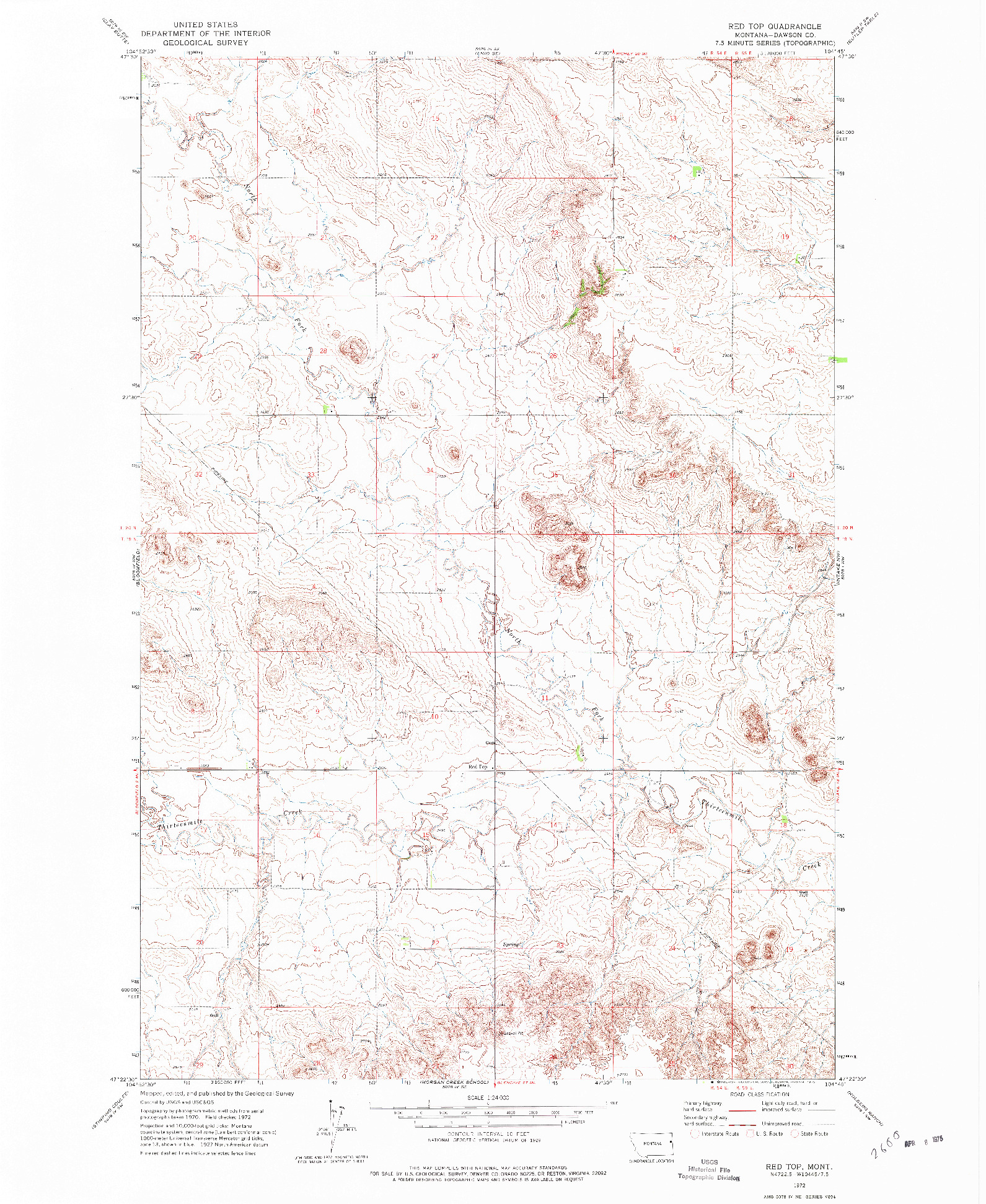 USGS 1:24000-SCALE QUADRANGLE FOR RED TOP, MT 1972
