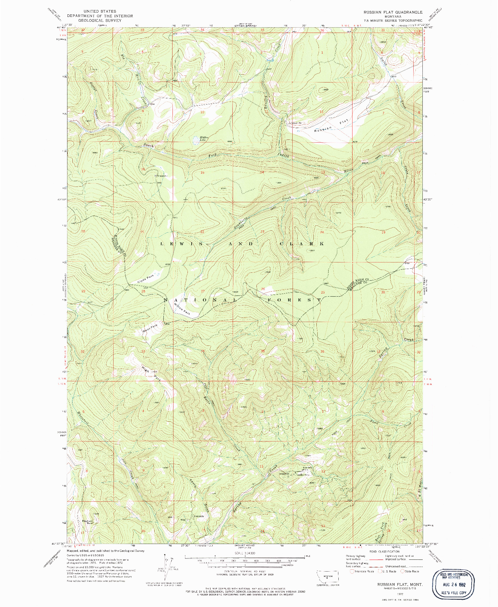 USGS 1:24000-SCALE QUADRANGLE FOR RUSSIAN FLAT, MT 1972