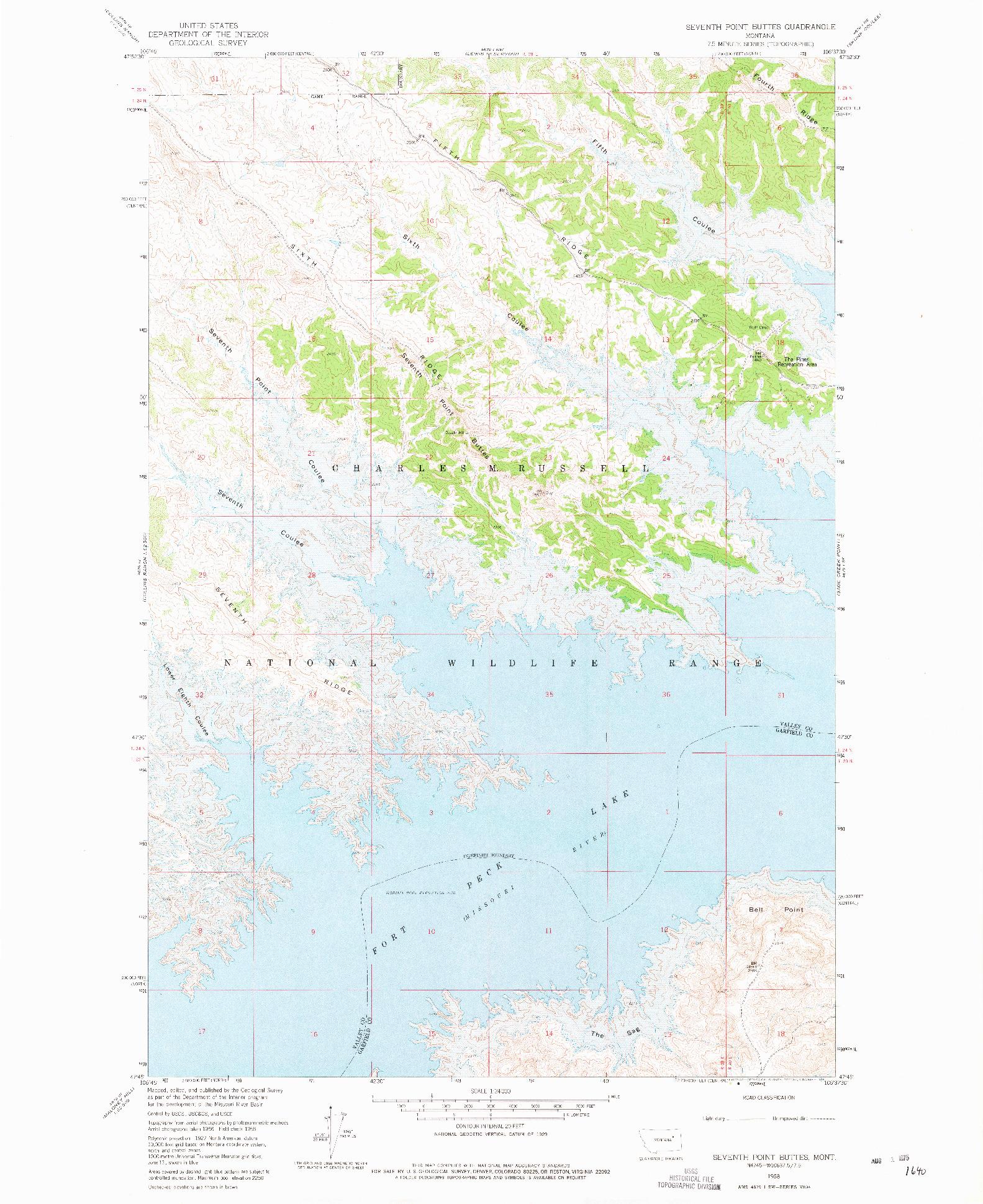 USGS 1:24000-SCALE QUADRANGLE FOR SEVENTH POINT BUTTES, MT 1958