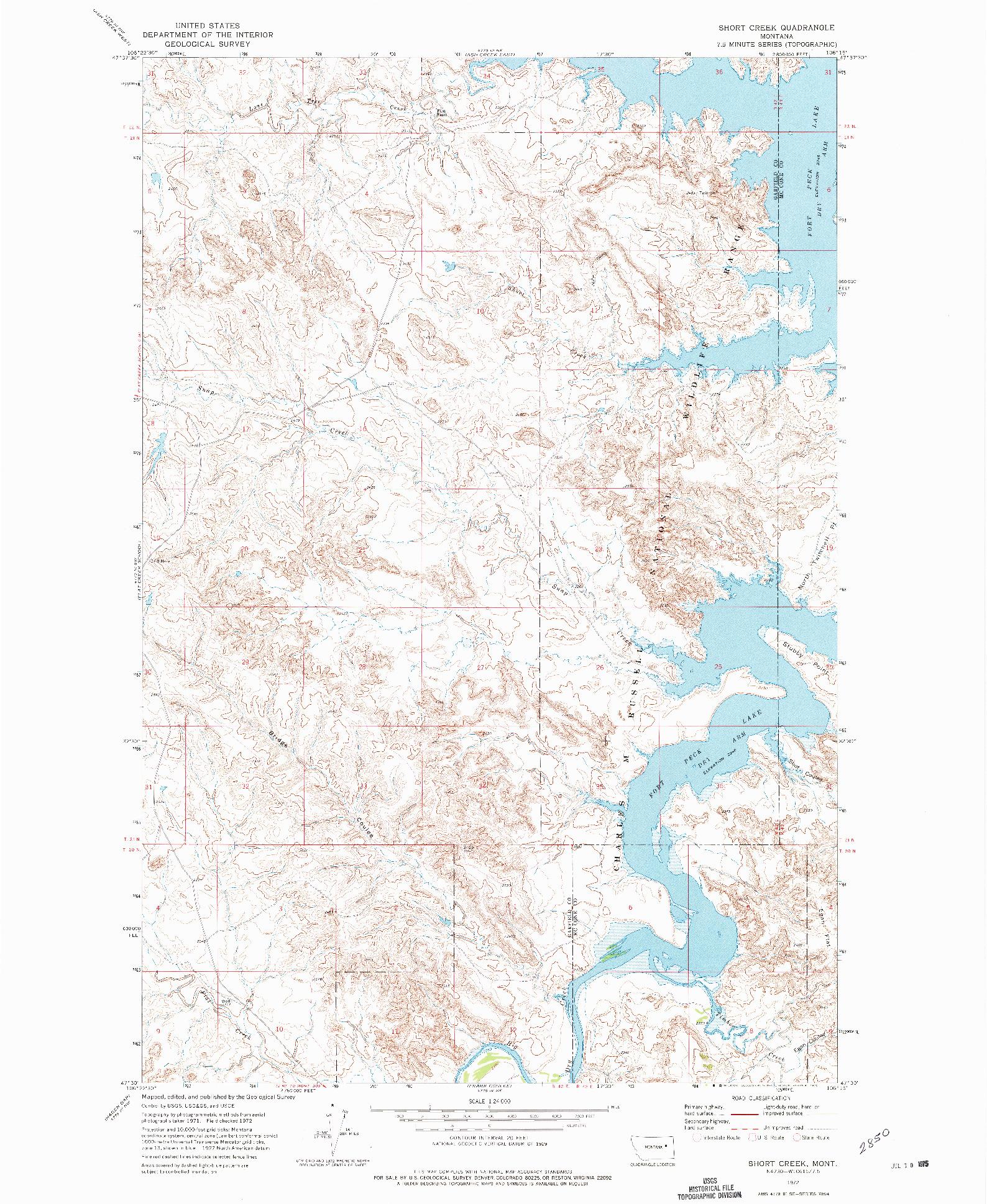 USGS 1:24000-SCALE QUADRANGLE FOR SHORT CREEK, MT 1972