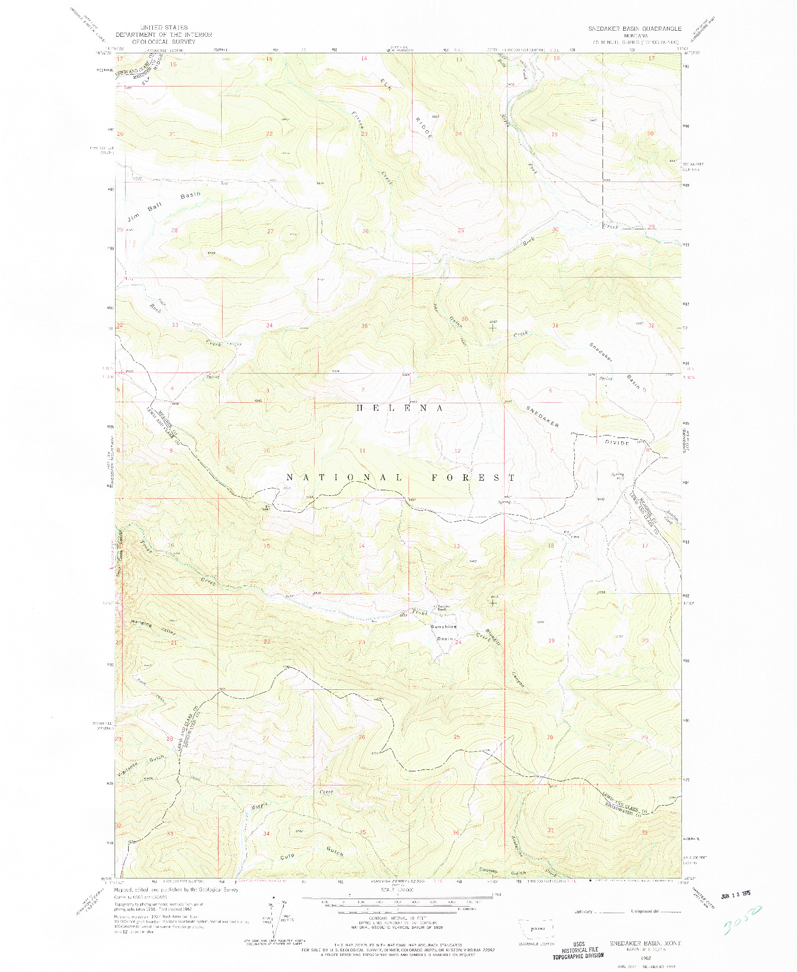 USGS 1:24000-SCALE QUADRANGLE FOR SNEDAKER BASIN, MT 1962