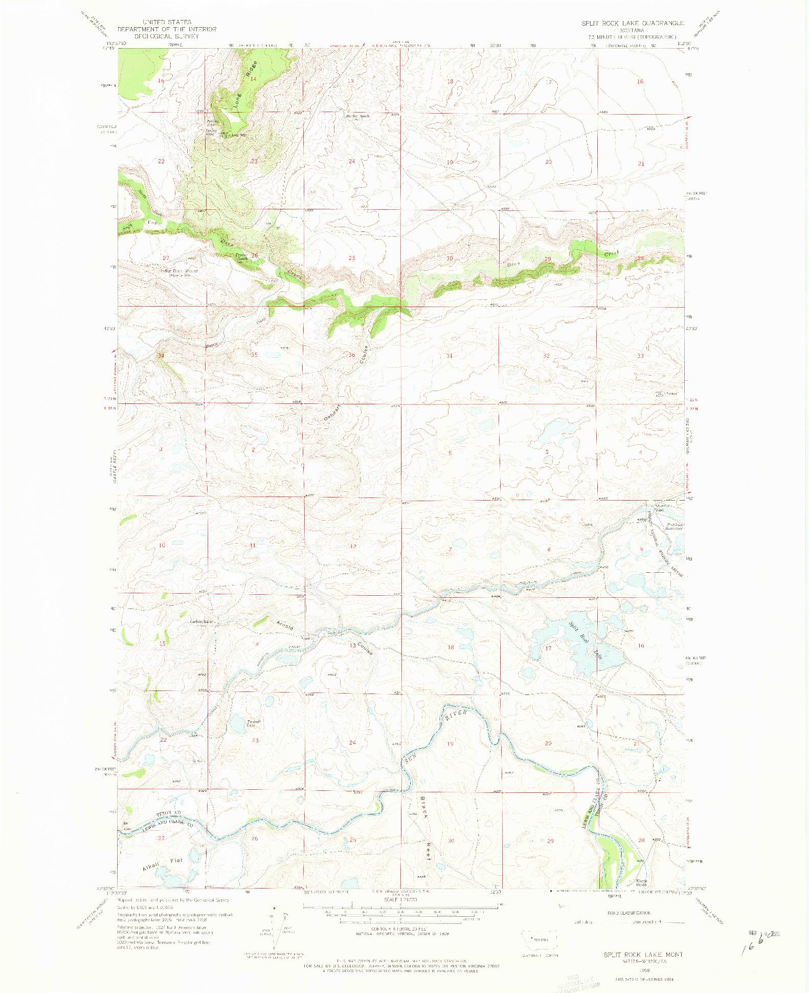 USGS 1:24000-SCALE QUADRANGLE FOR SPLIT ROCK LAKE, MT 1958