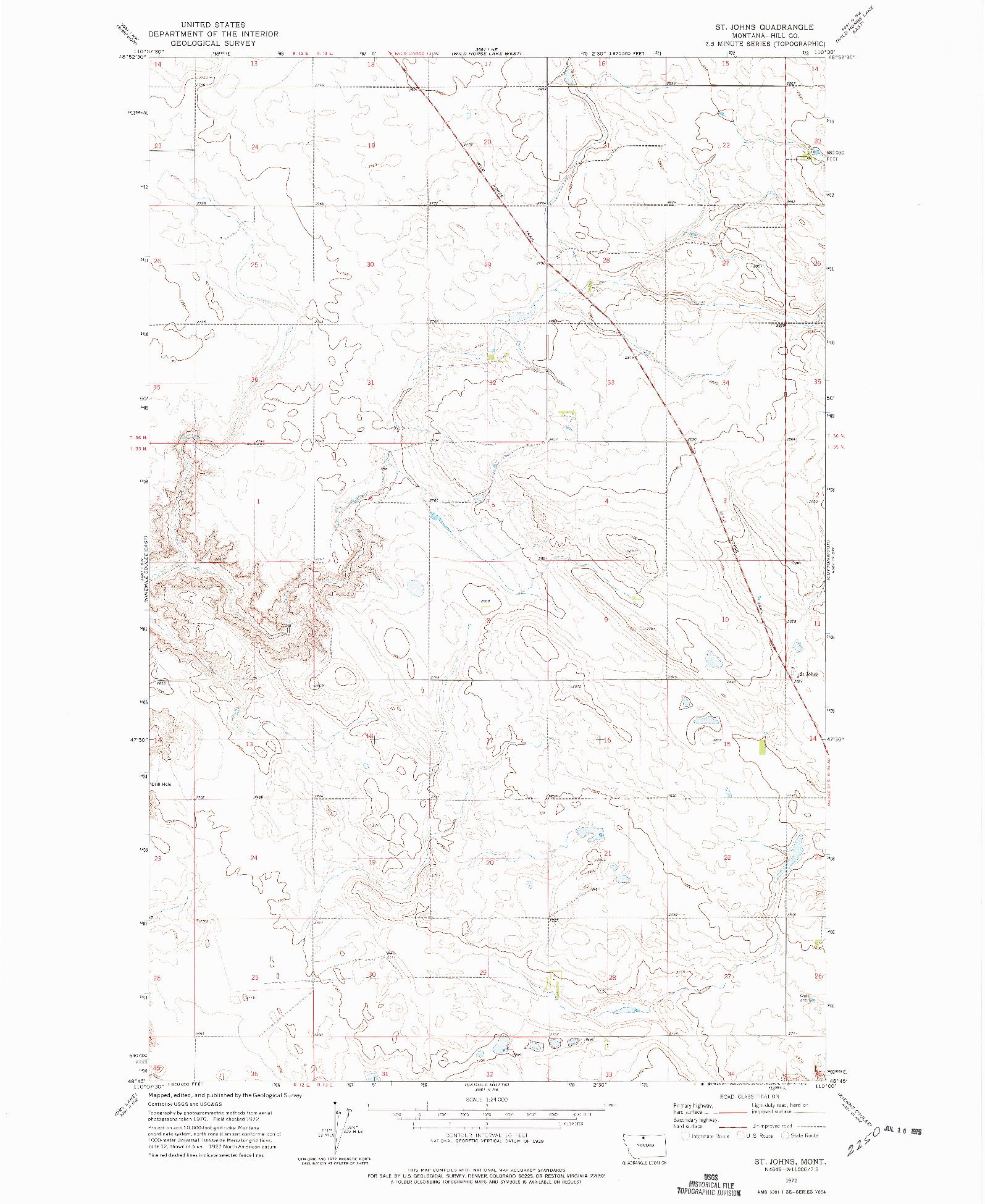 USGS 1:24000-SCALE QUADRANGLE FOR ST. JOHNS, MT 1972