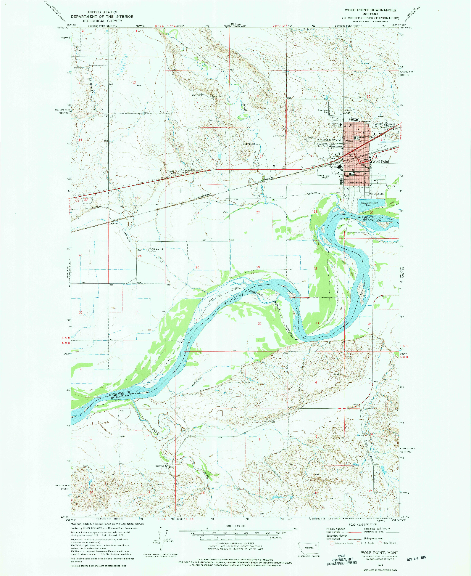USGS 1:24000-SCALE QUADRANGLE FOR WOLF POINT, MT 1972