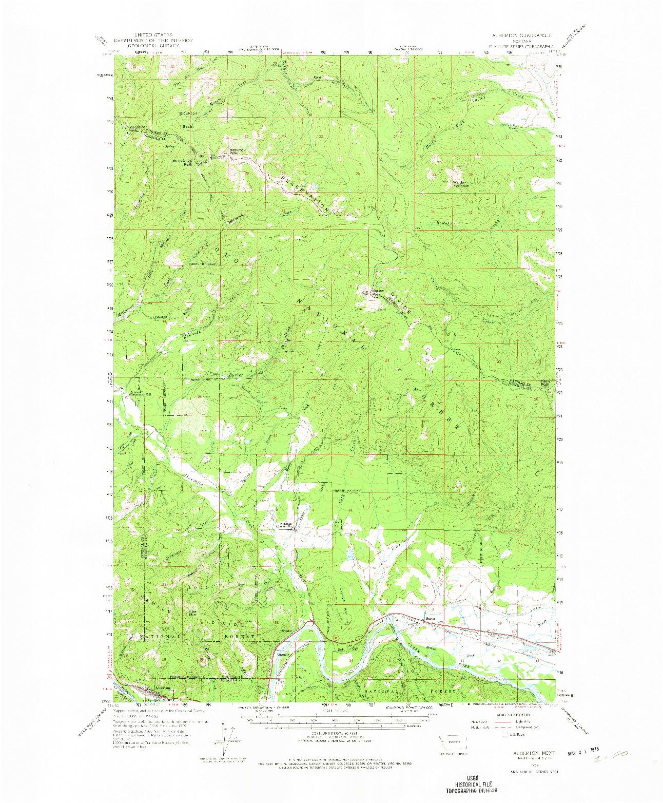USGS 1:62500-SCALE QUADRANGLE FOR ALBERTON, MT 1959