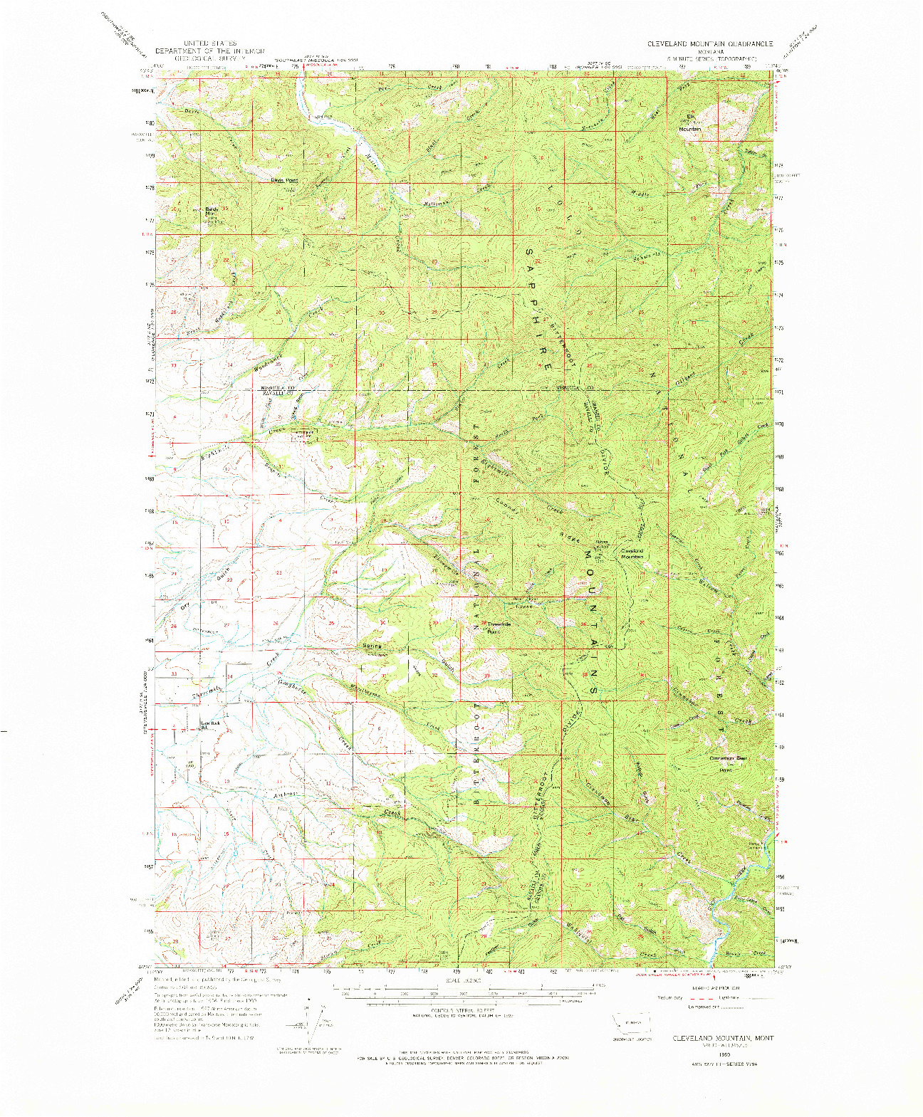 USGS 1:62500-SCALE QUADRANGLE FOR CLEVELAND MOUNTAIN, MT 1959