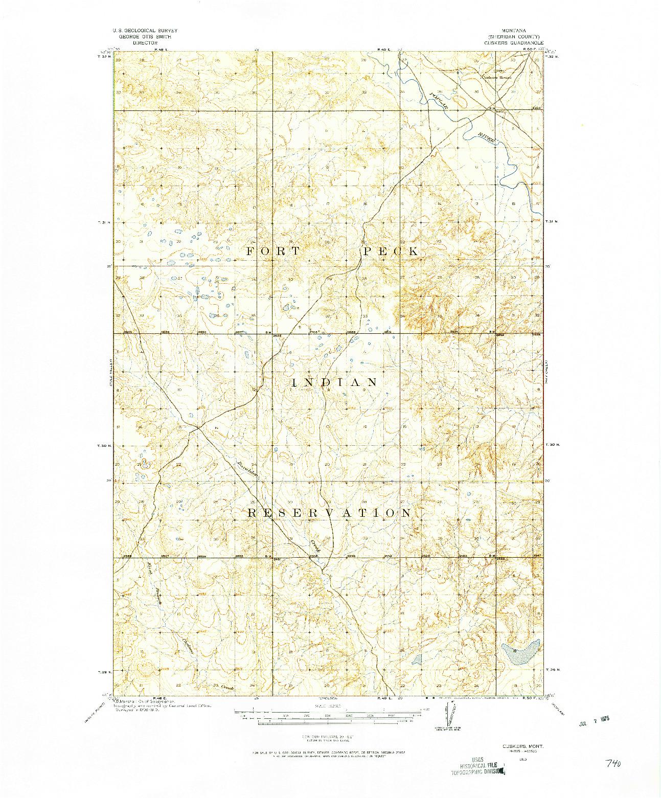 USGS 1:62500-SCALE QUADRANGLE FOR CUSKERS, MT 1910