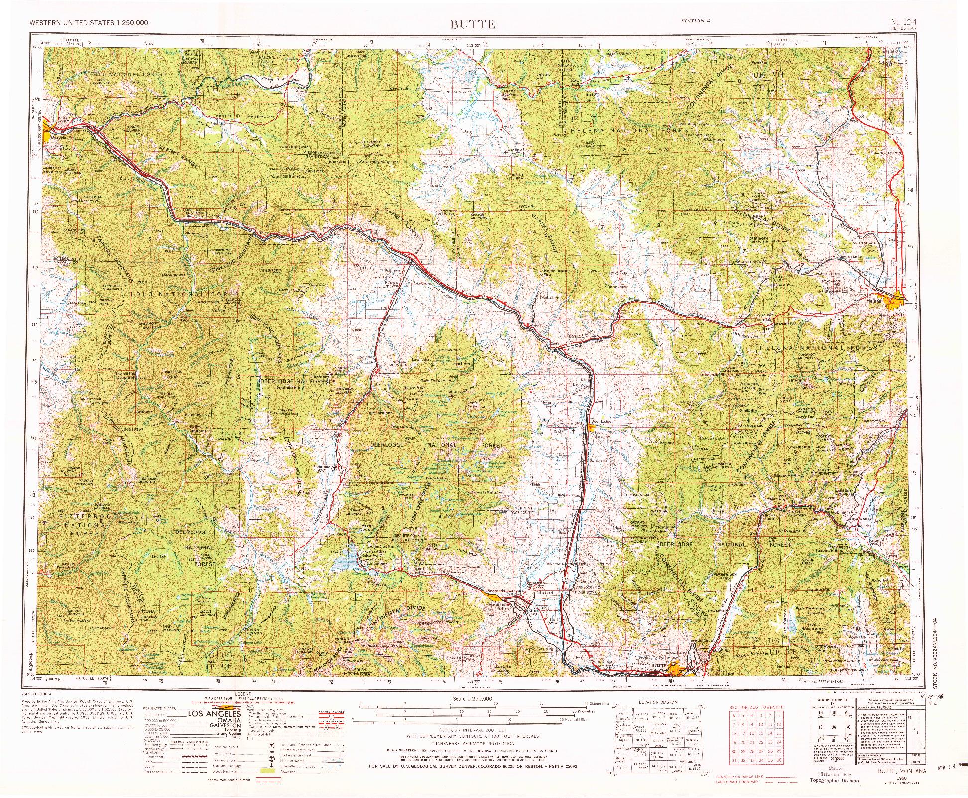 USGS 1:250000-SCALE QUADRANGLE FOR BUTTE, MT 1958
