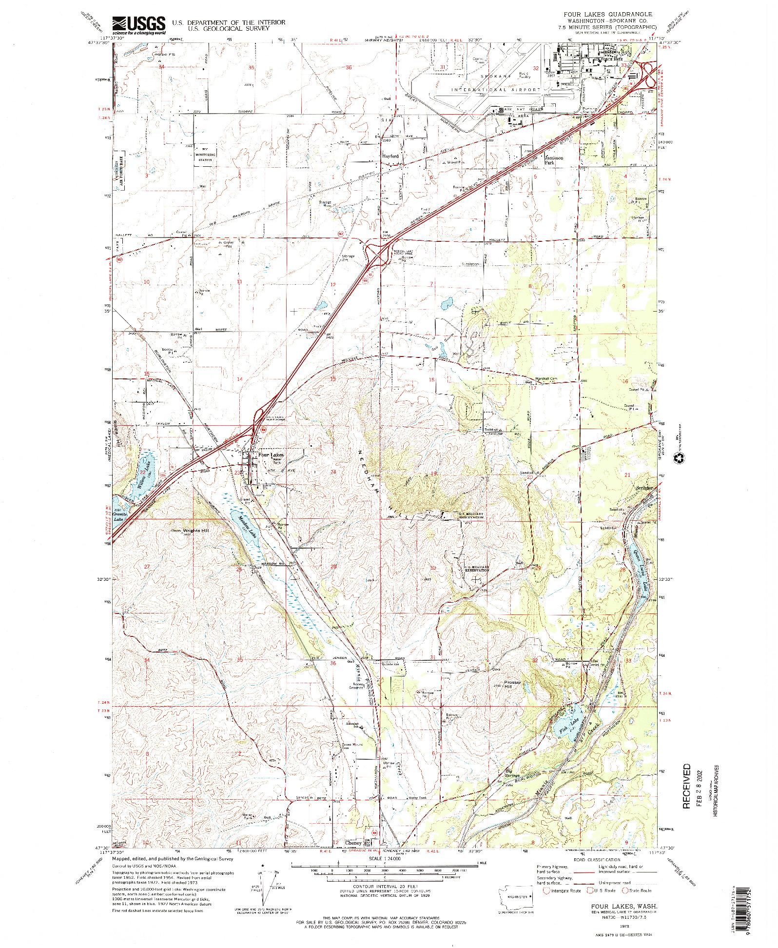 USGS 1:24000-SCALE QUADRANGLE FOR FOUR LAKES, WA 1973