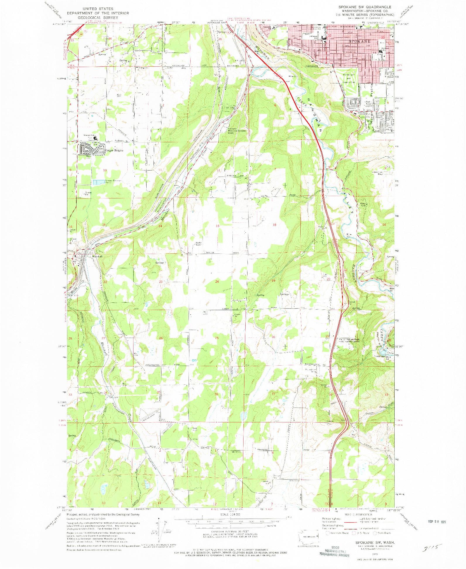 USGS 1:24000-SCALE QUADRANGLE FOR SPOKANE SW, WA 1973