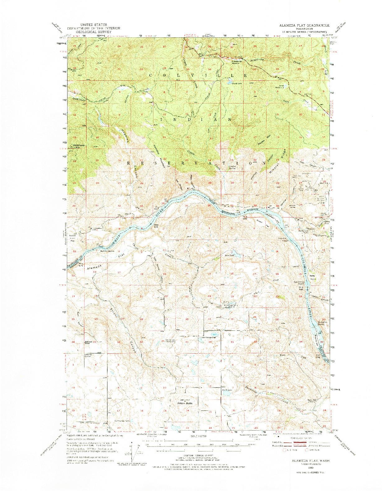 USGS 1:62500-SCALE QUADRANGLE FOR ALAMEDA FLAT, WA 1950