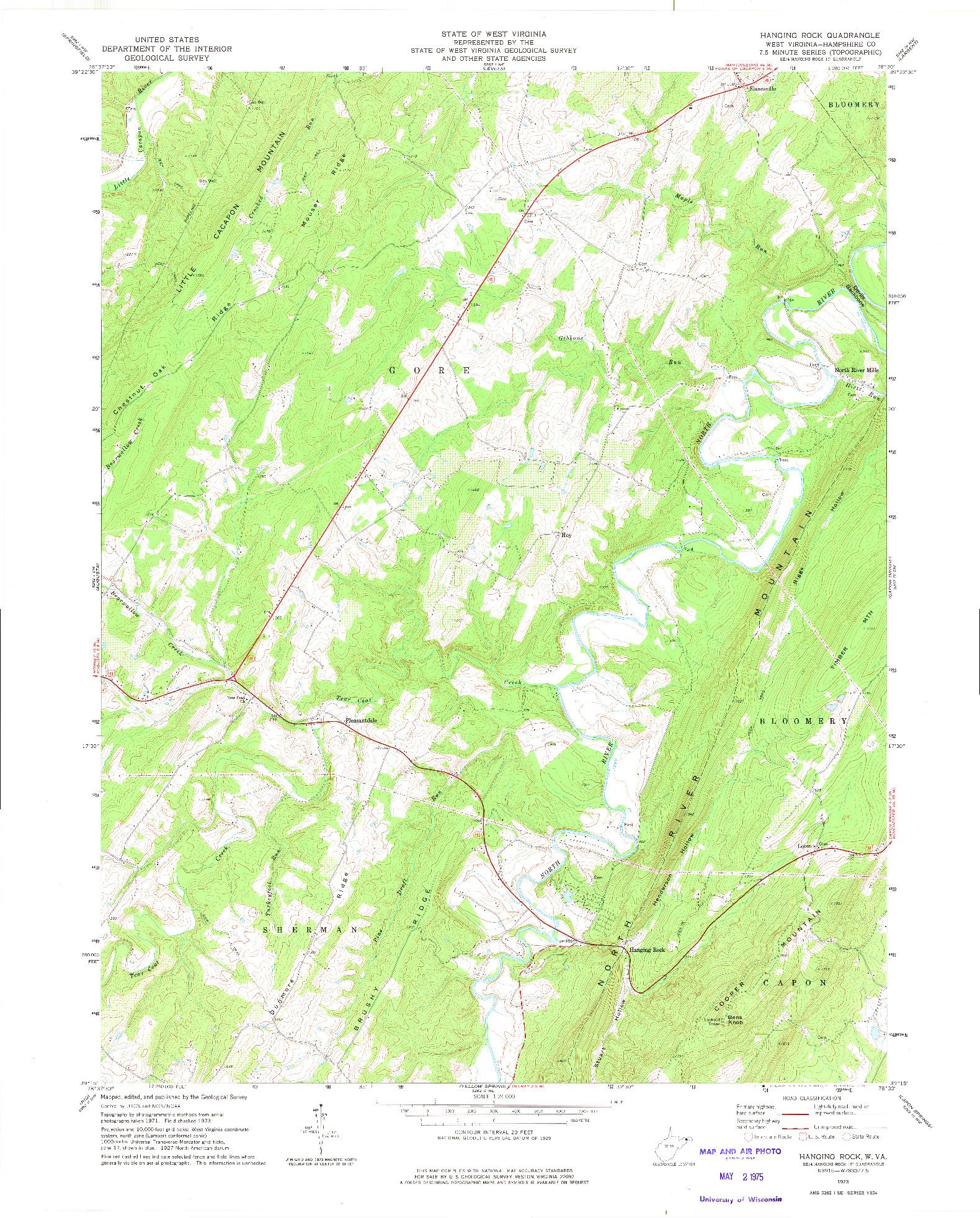 USGS 1:24000-SCALE QUADRANGLE FOR HANGING ROCK, WV 1973
