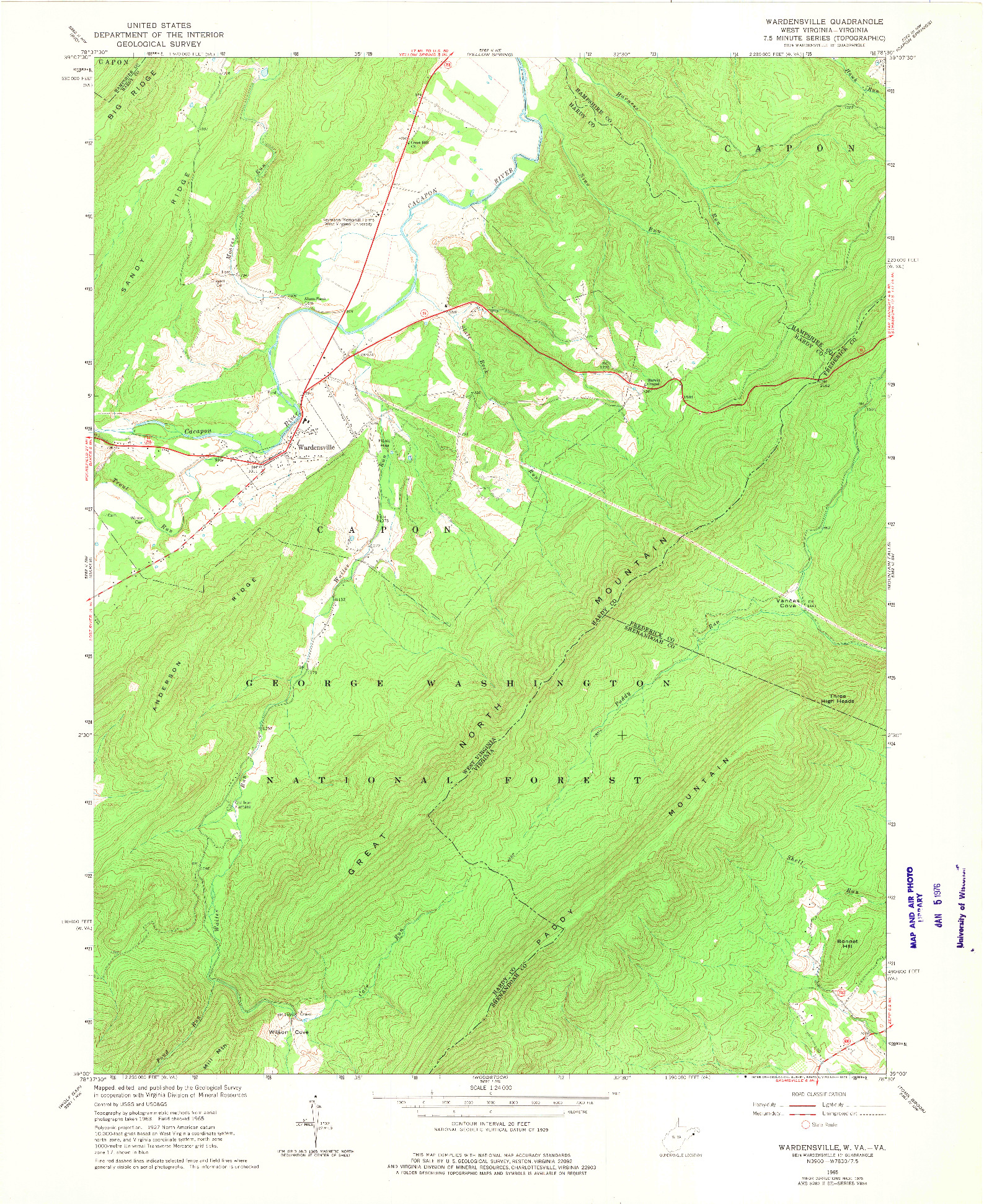 USGS 1:24000-SCALE QUADRANGLE FOR WARDENSVILLE, WV 1965