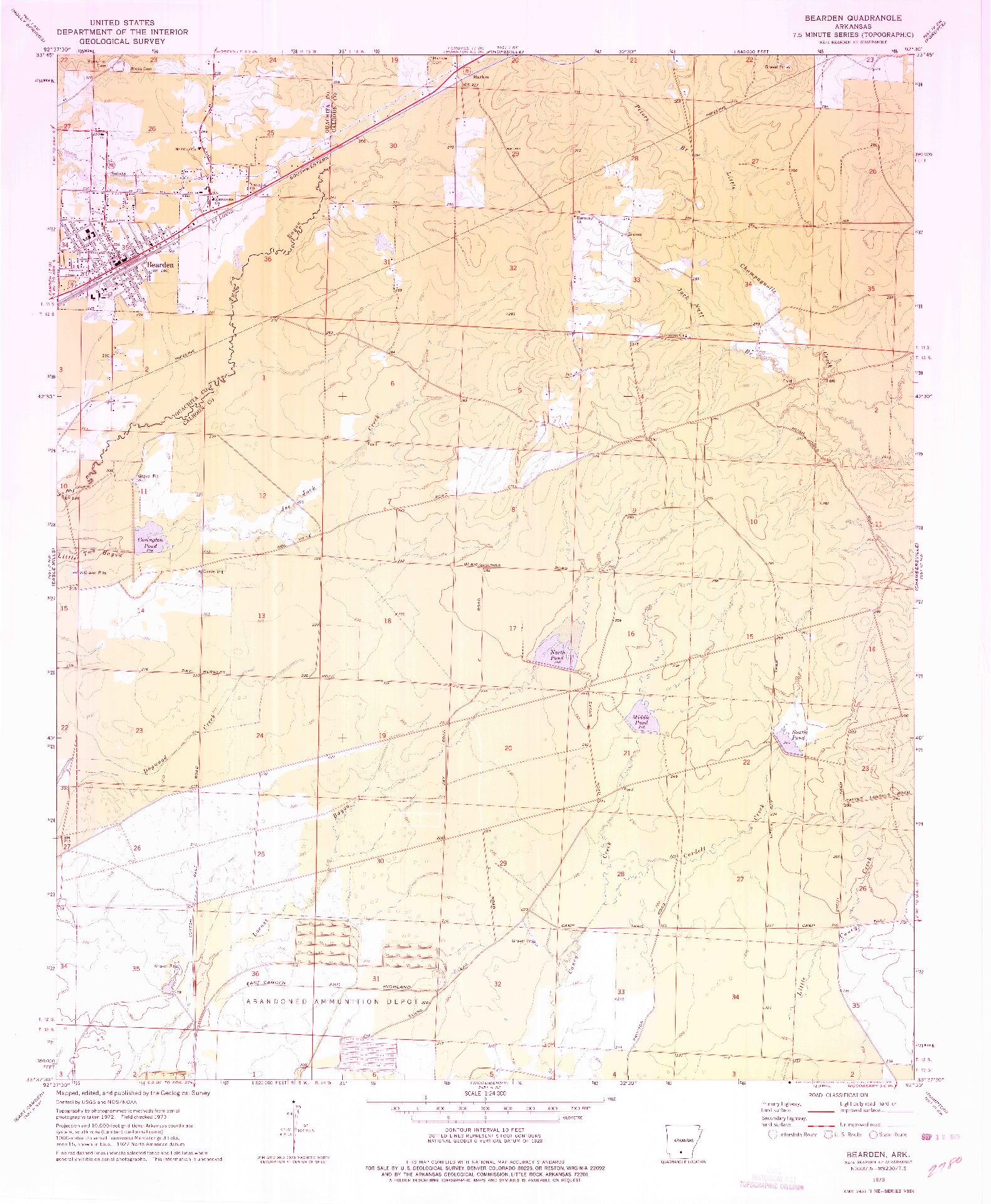 USGS 1:24000-SCALE QUADRANGLE FOR BEARDEN, AR 1973