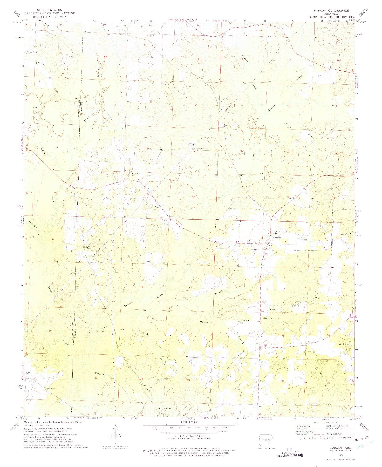 USGS 1:24000-SCALE QUADRANGLE FOR BODCAW, AR 1973