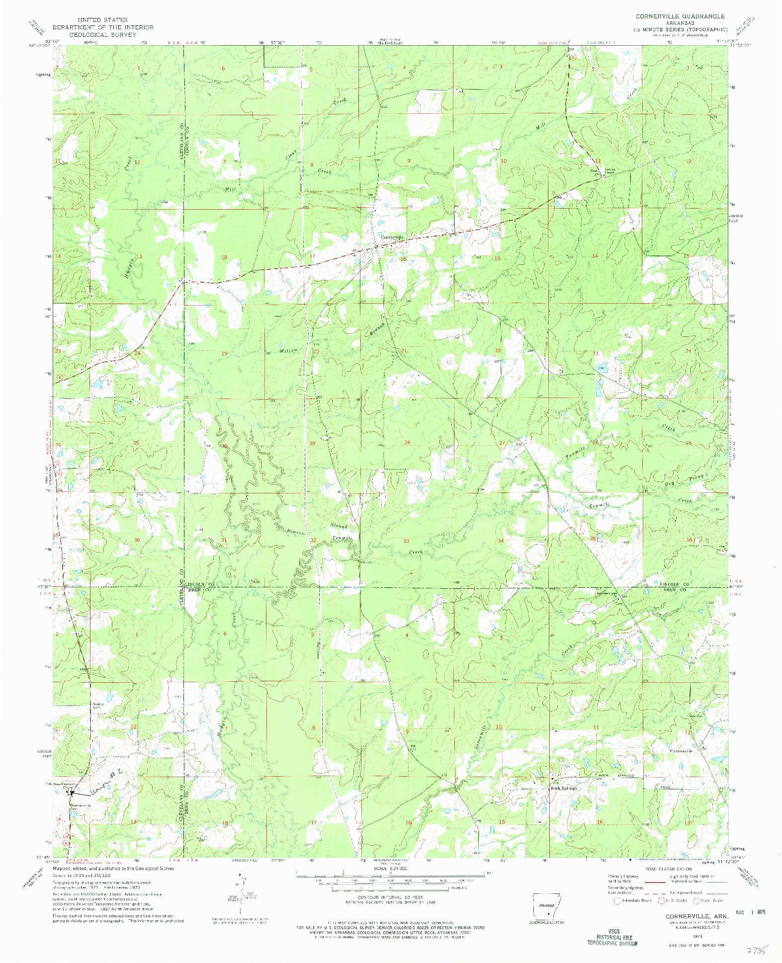 USGS 1:24000-SCALE QUADRANGLE FOR CORNERSTONE, AR 1973