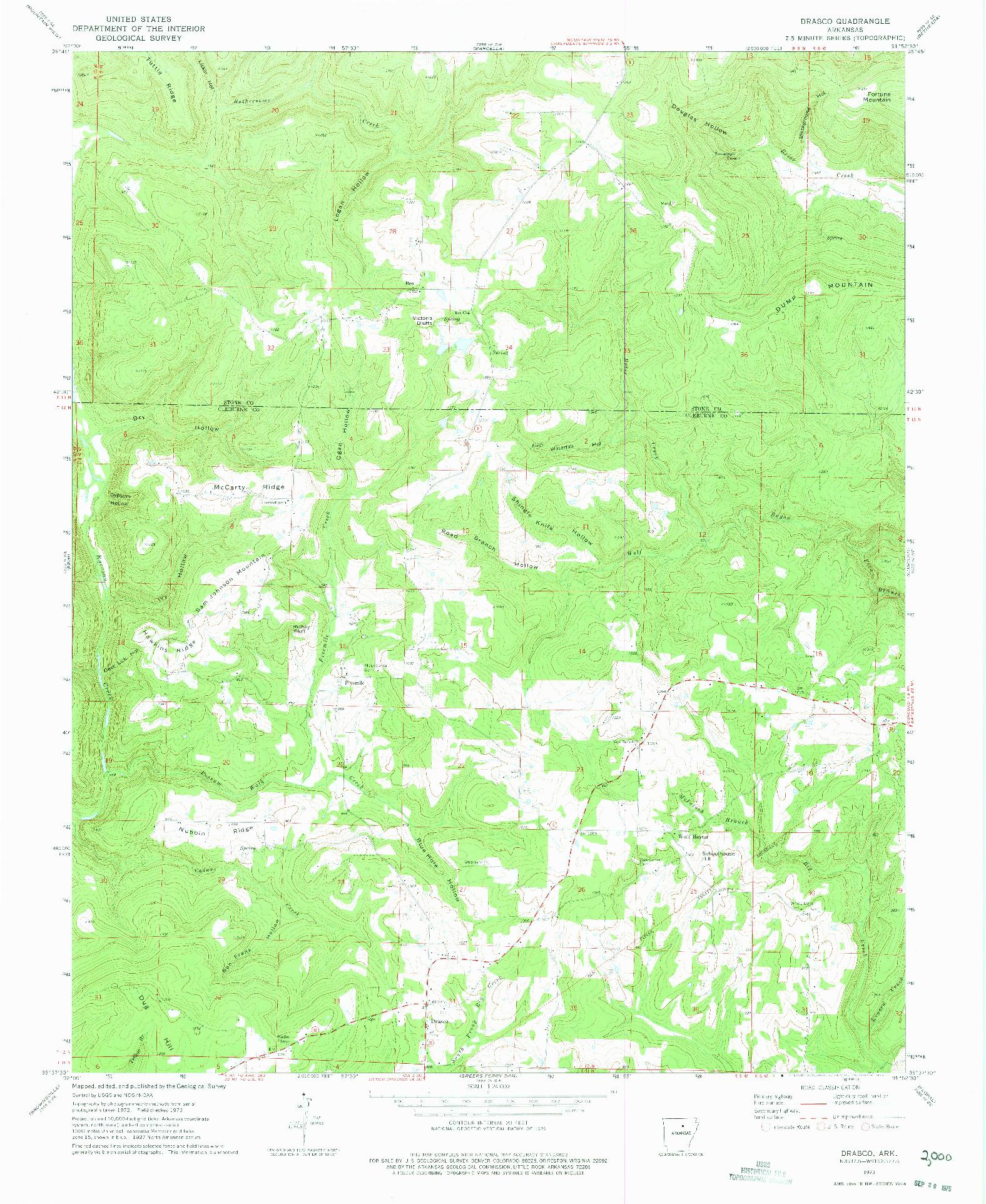 USGS 1:24000-SCALE QUADRANGLE FOR DRASCO, AR 1973