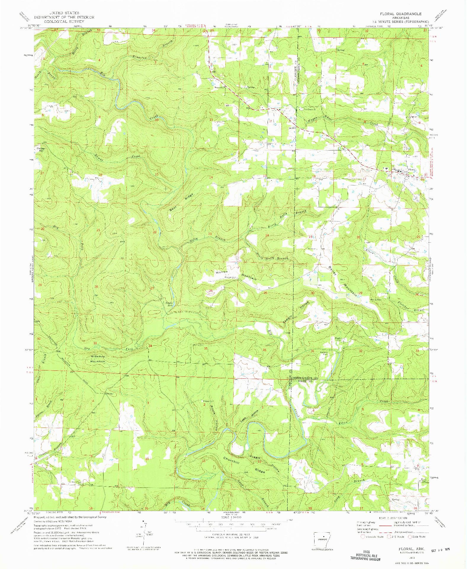 USGS 1:24000-SCALE QUADRANGLE FOR FLORAL, AR 1973