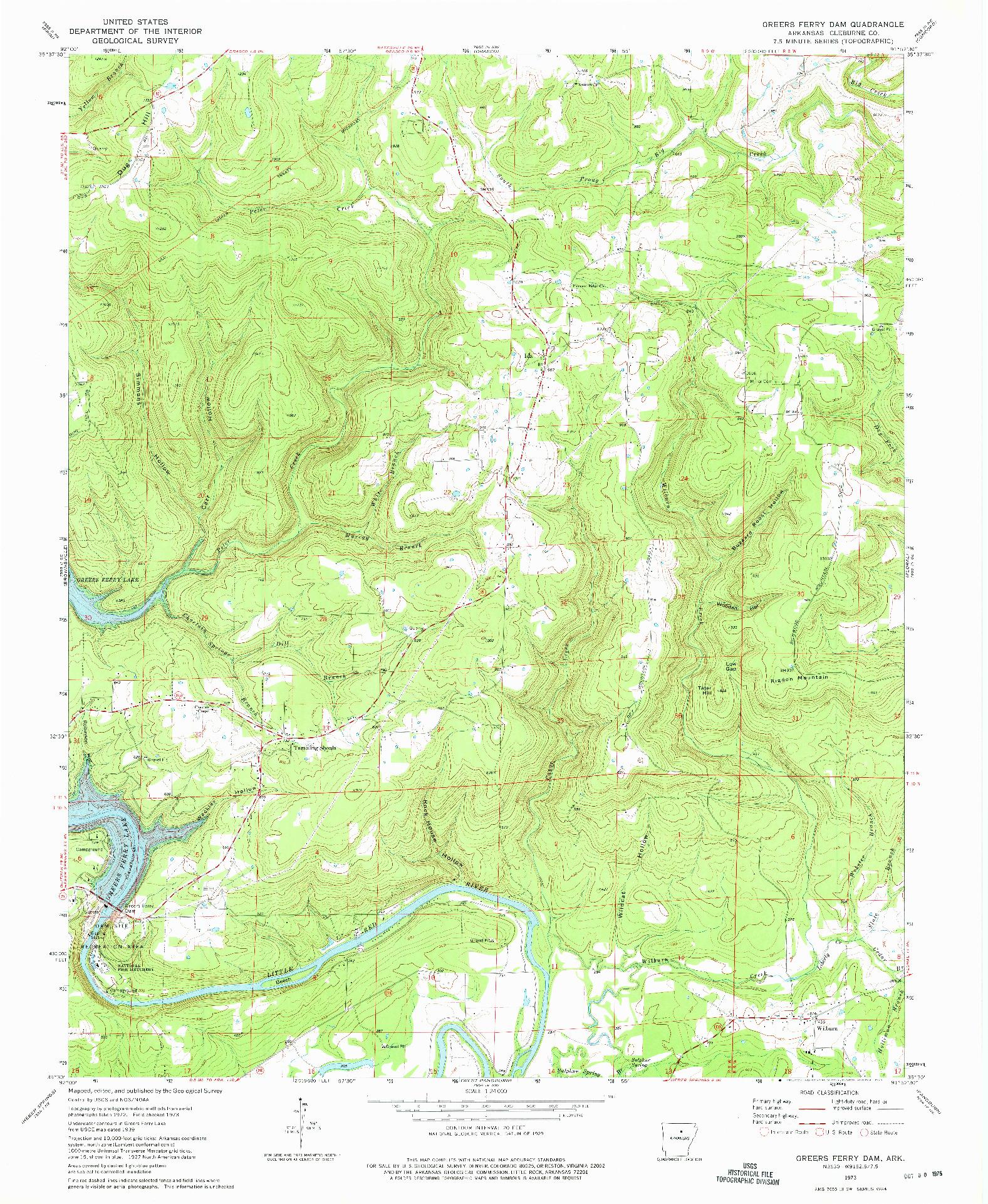 USGS 1:24000-SCALE QUADRANGLE FOR GREERS FERRY DAM, AR 1973