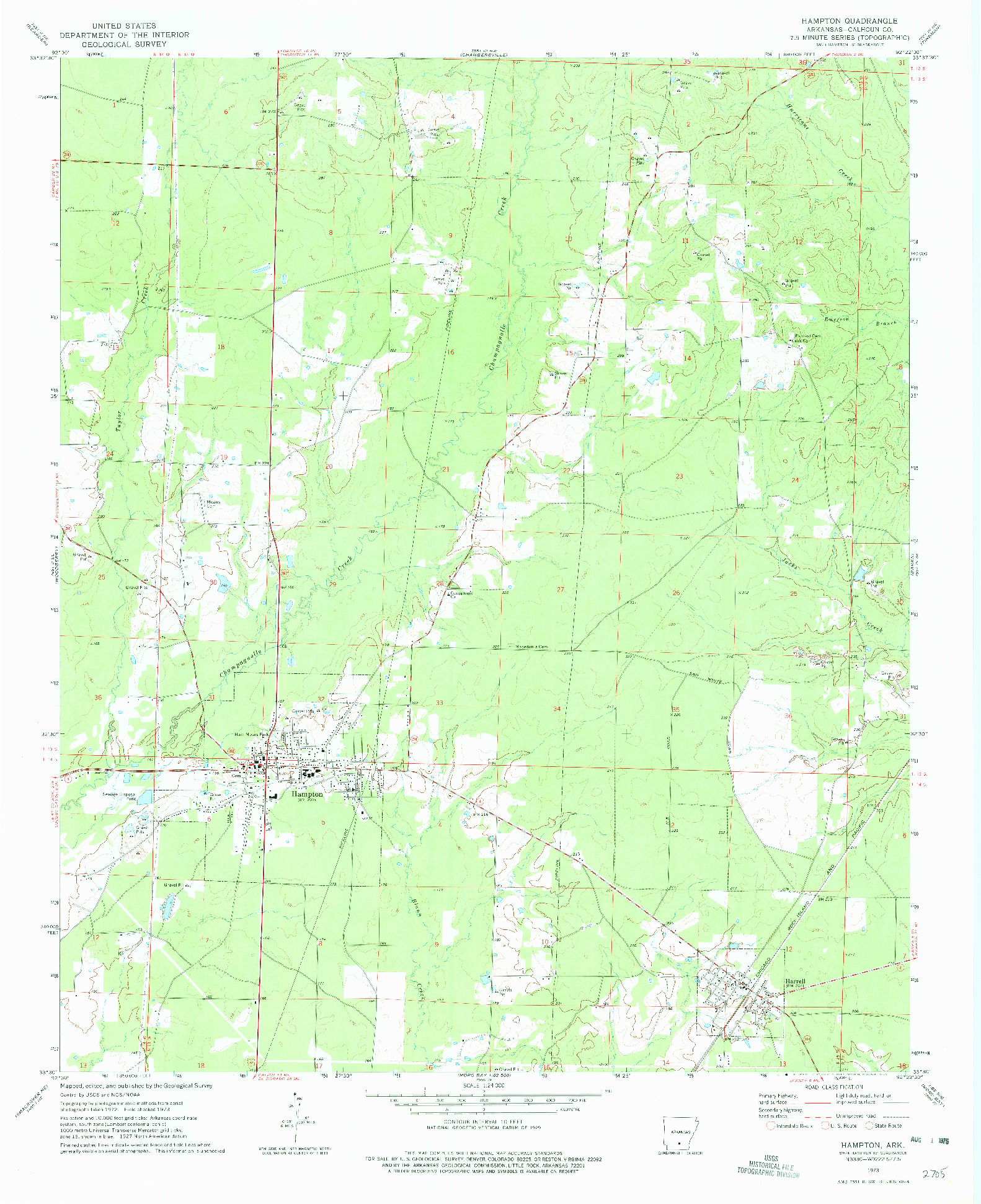 USGS 1:24000-SCALE QUADRANGLE FOR HAMPTON, AR 1973