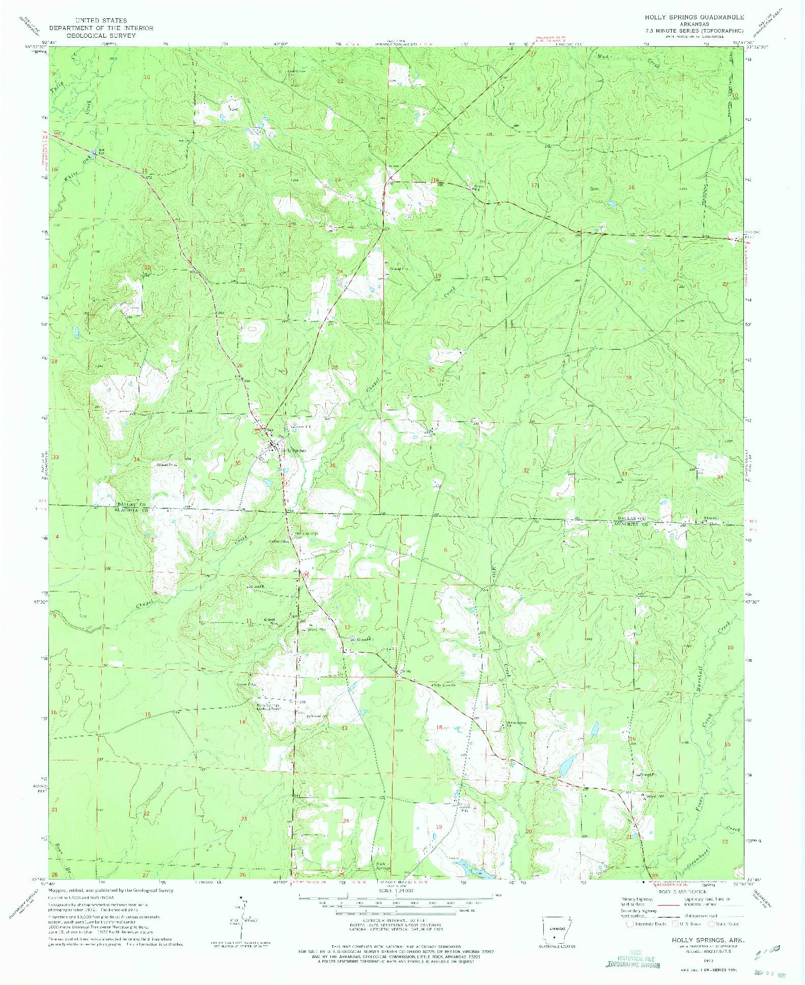 USGS 1:24000-SCALE QUADRANGLE FOR HOLLY SPRINGS, AR 1973
