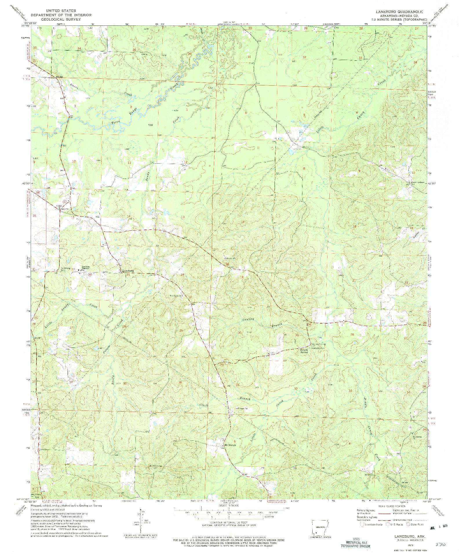 USGS 1:24000-SCALE QUADRANGLE FOR LANEBURG, AR 1973