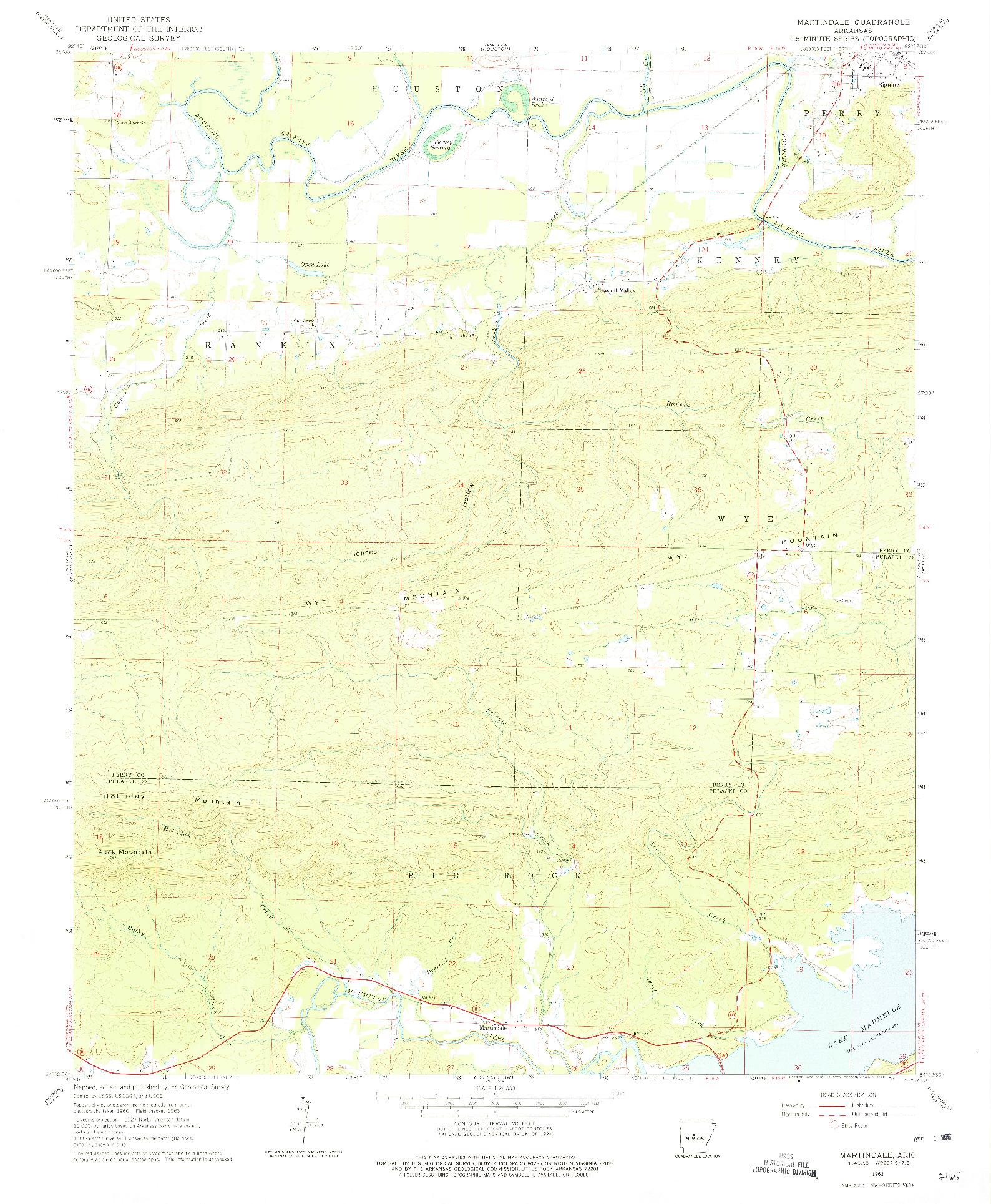 USGS 1:24000-SCALE QUADRANGLE FOR MARTINDALE, AR 1963