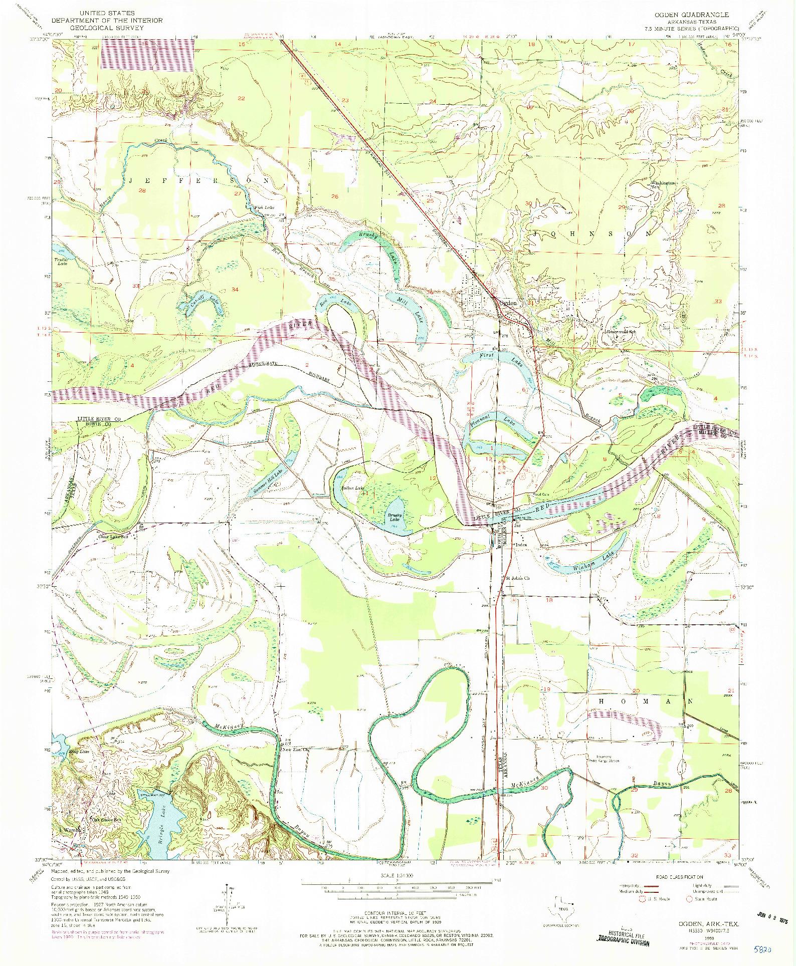 USGS 1:24000-SCALE QUADRANGLE FOR OGDEN, AR 1950