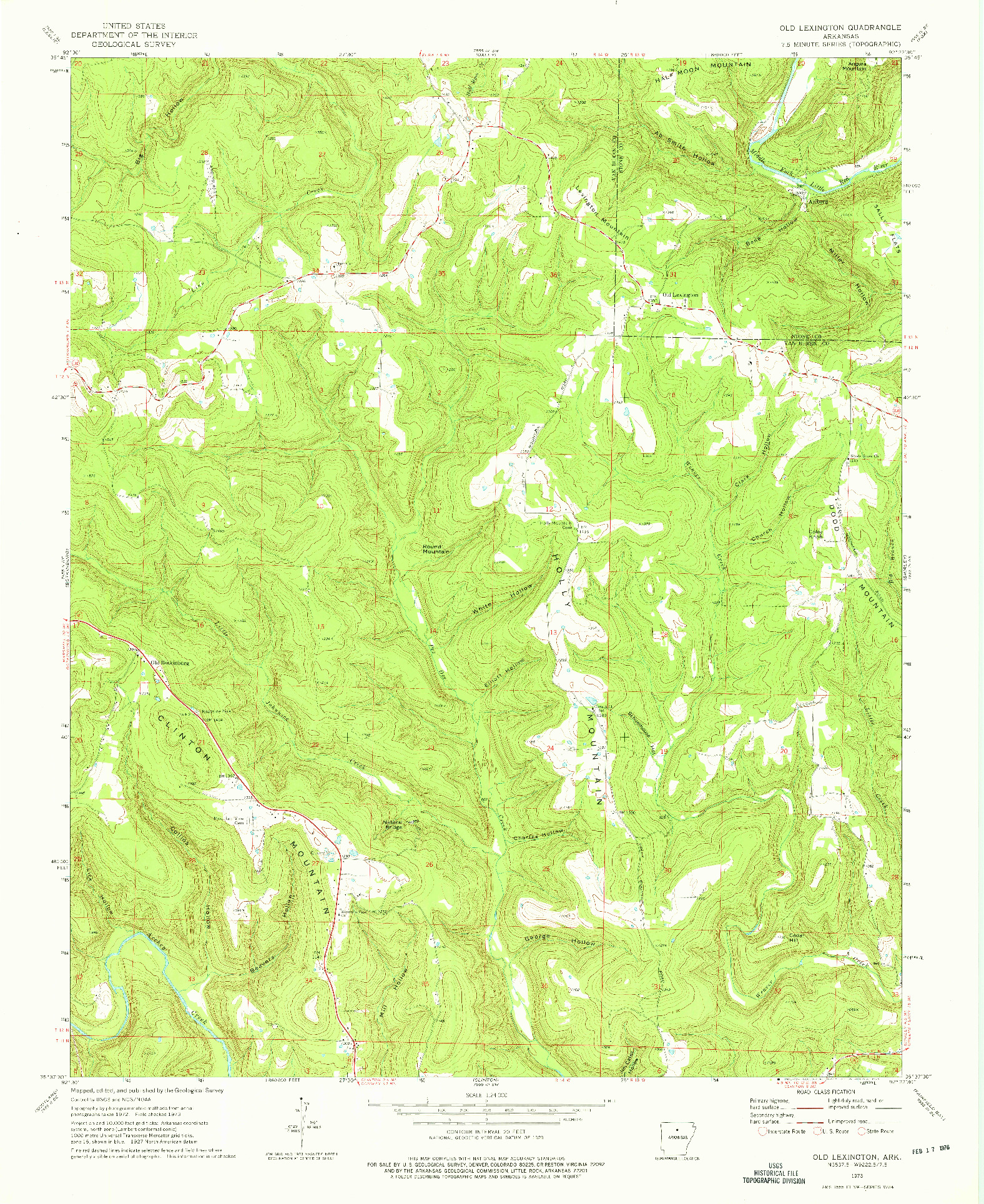 USGS 1:24000-SCALE QUADRANGLE FOR OLD LEXINGTON, AR 1973