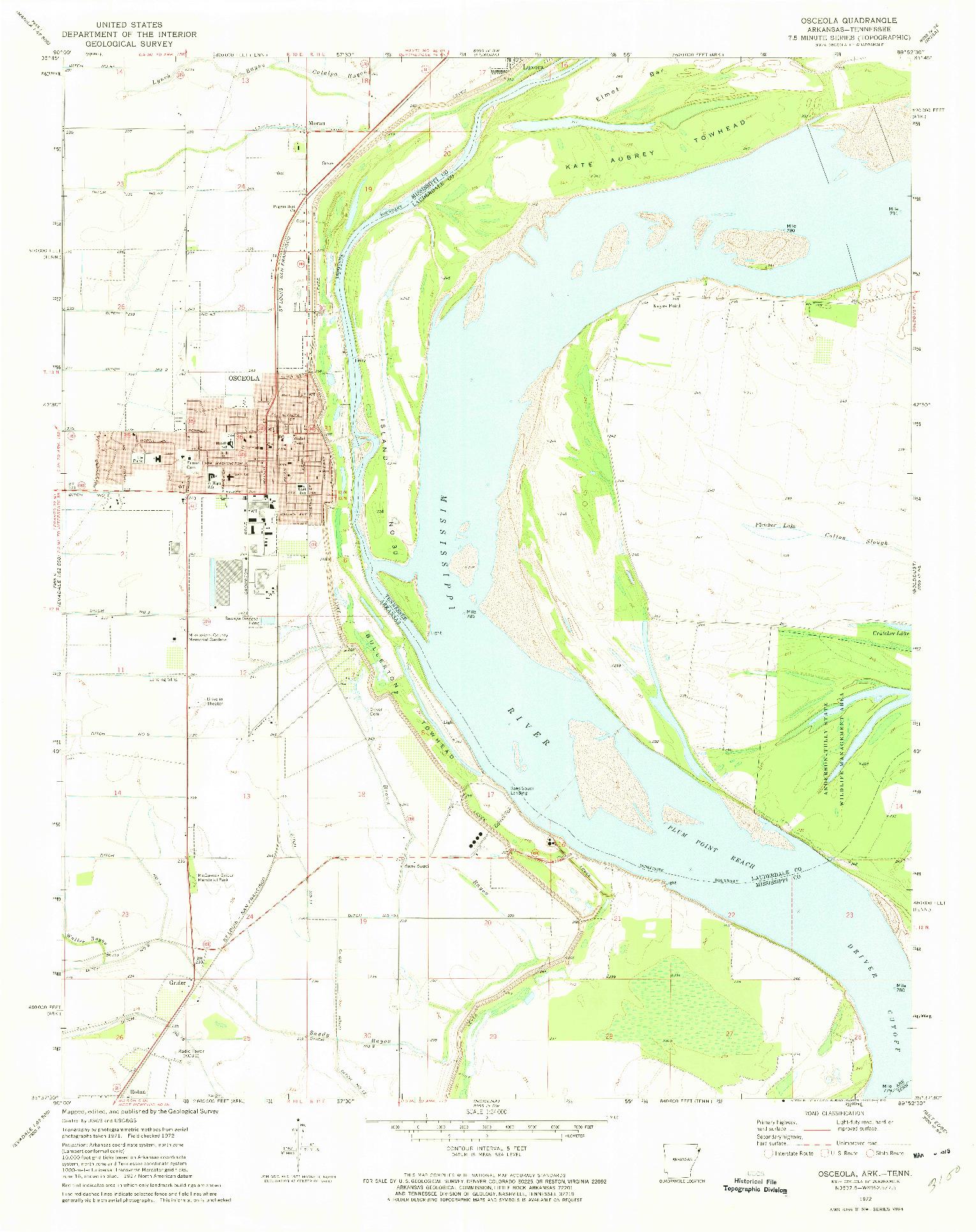 USGS 1:24000-SCALE QUADRANGLE FOR OSCEOLA, AR 1972