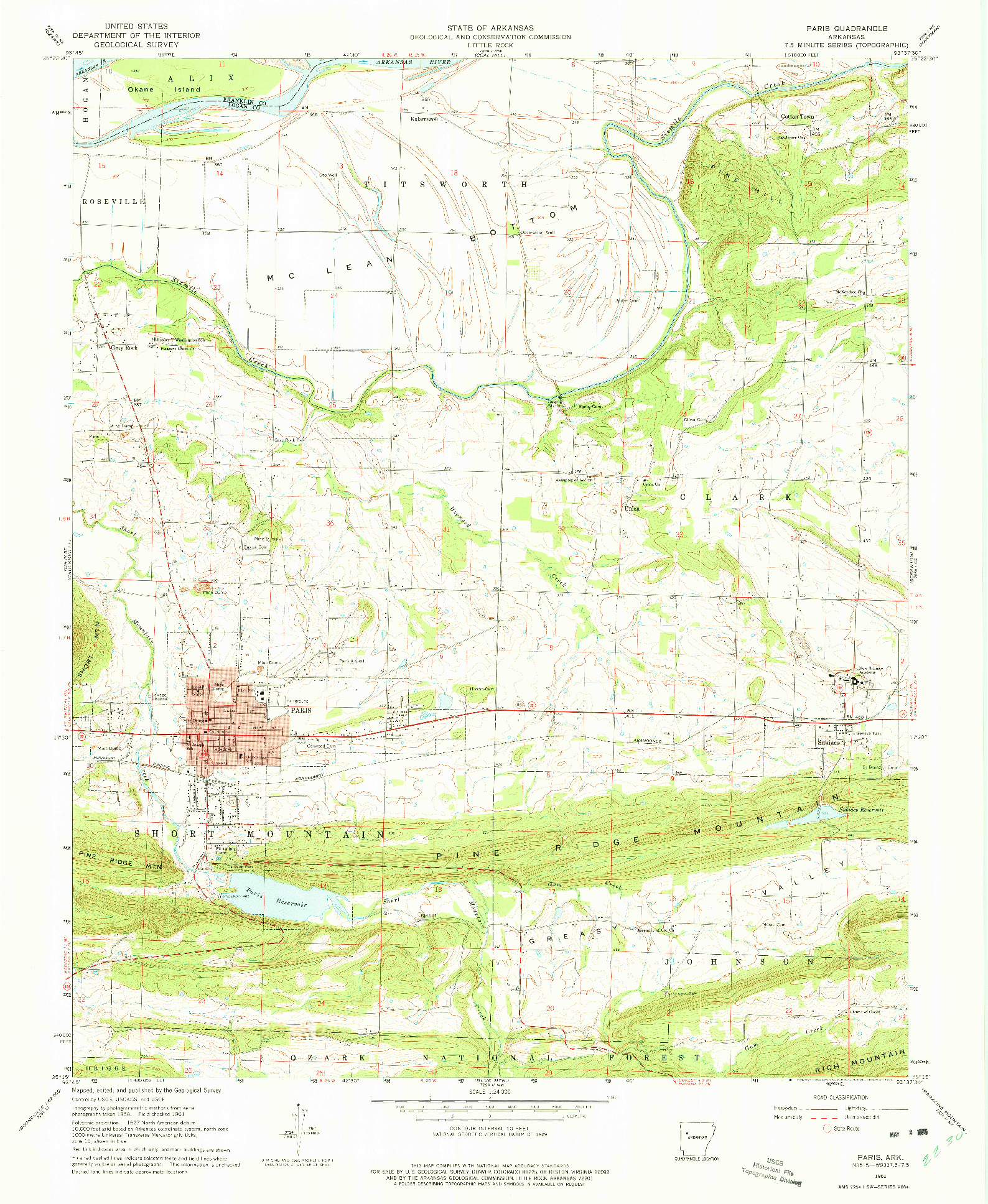 USGS 1:24000-SCALE QUADRANGLE FOR PARIS, AR 1961